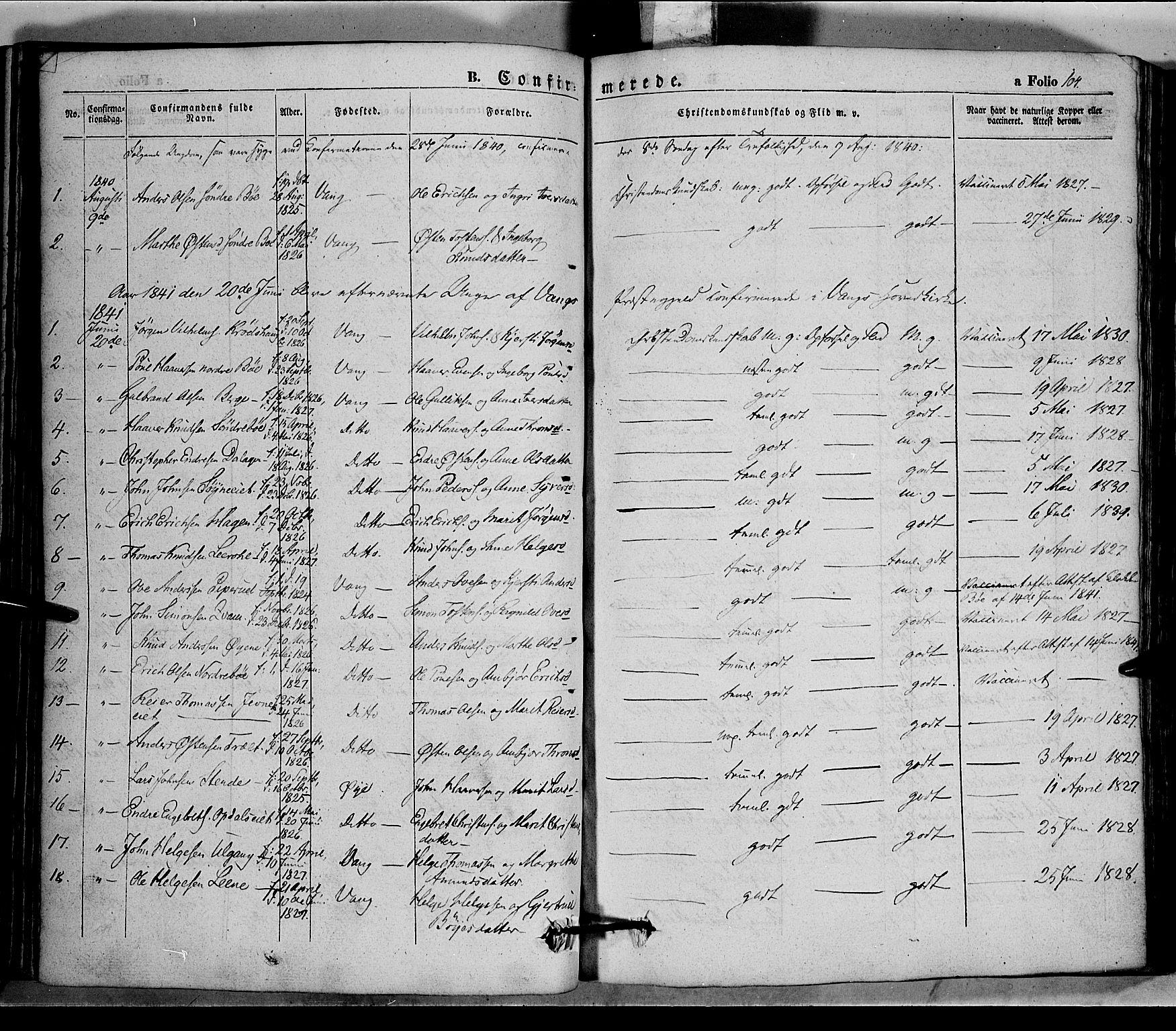 SAH, Vang prestekontor, Valdres, Ministerialbok nr. 5, 1831-1845, s. 104