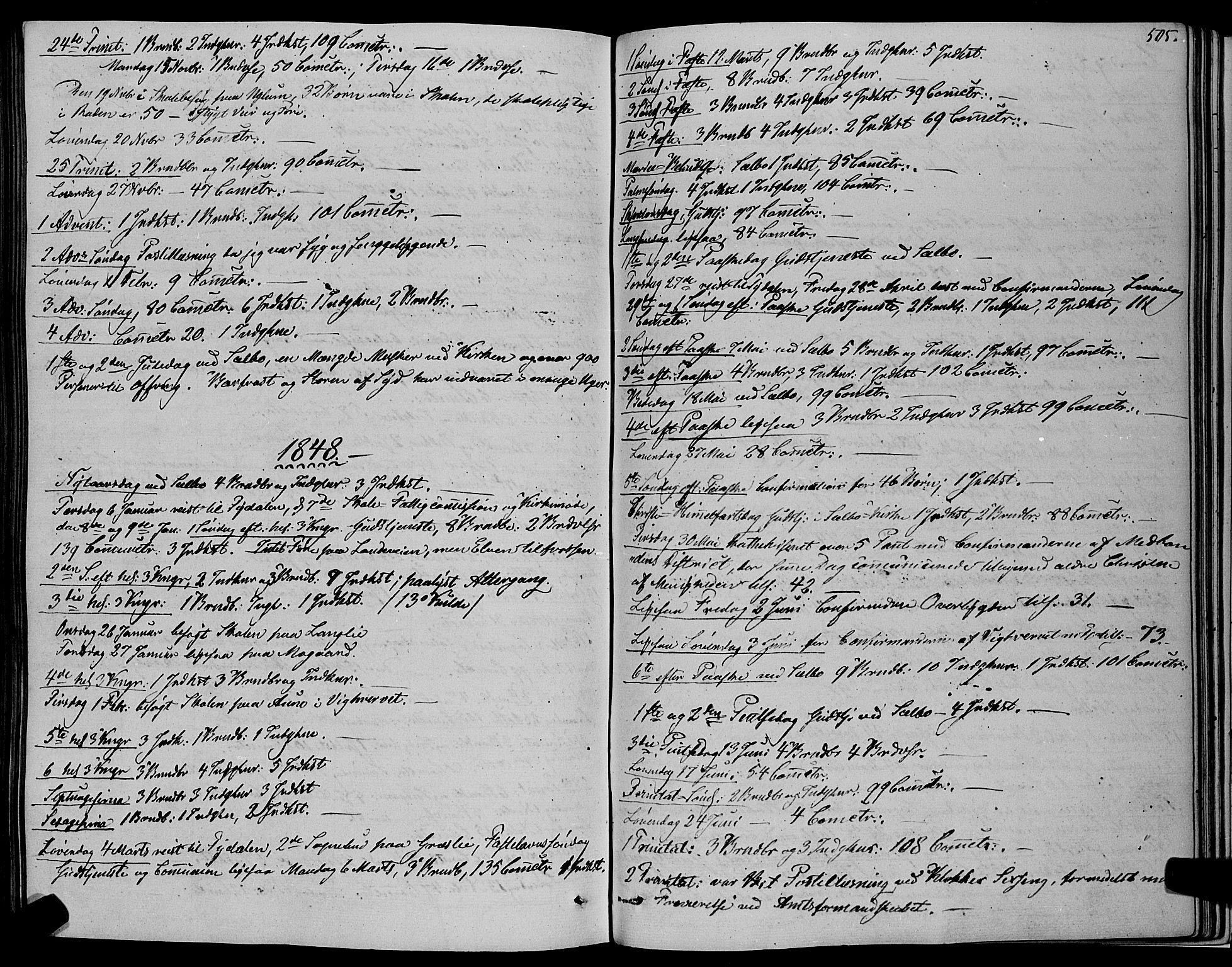 SAT, Ministerialprotokoller, klokkerbøker og fødselsregistre - Sør-Trøndelag, 695/L1145: Ministerialbok nr. 695A06 /1, 1843-1859, s. 505