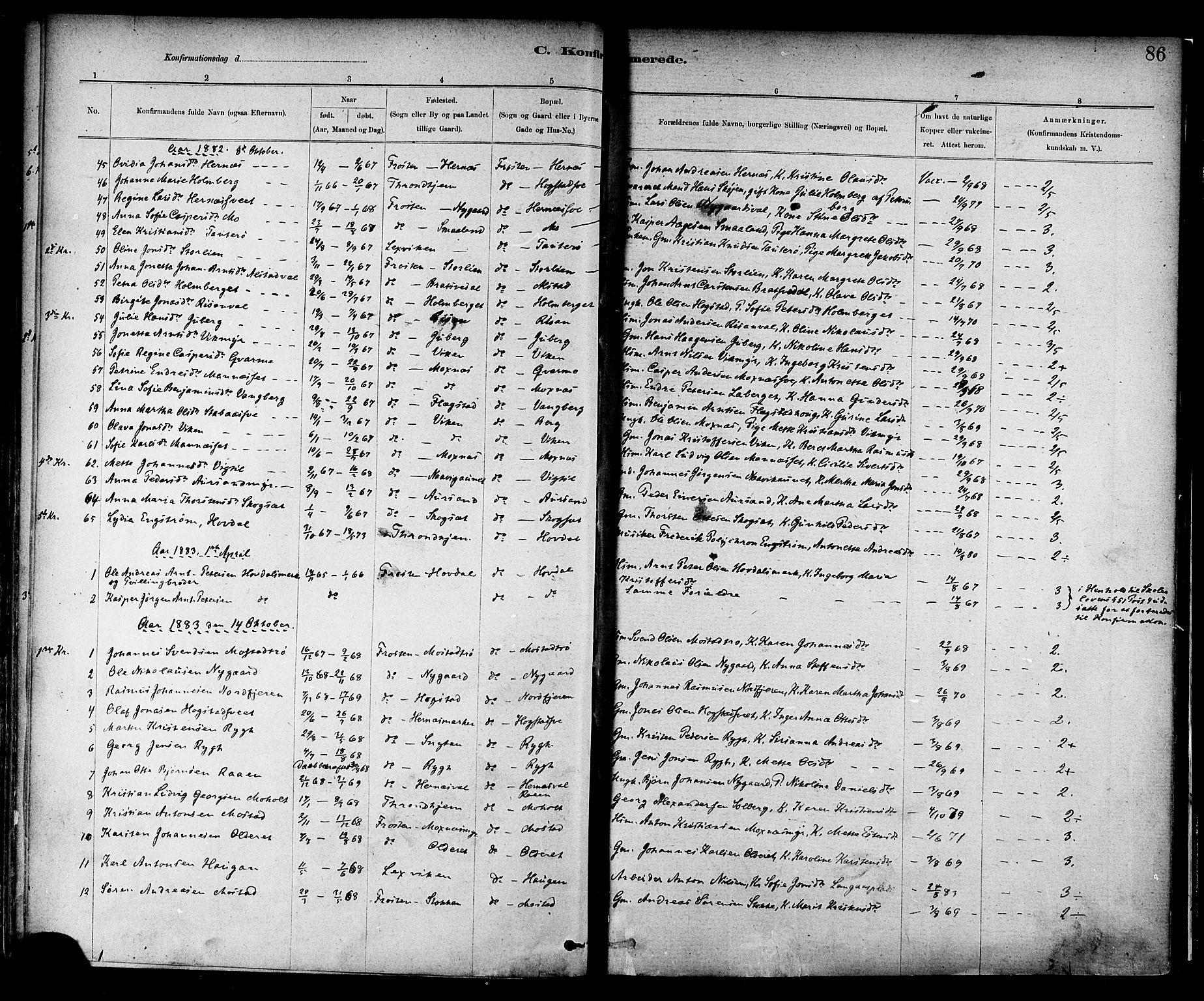 SAT, Ministerialprotokoller, klokkerbøker og fødselsregistre - Nord-Trøndelag, 713/L0120: Ministerialbok nr. 713A09, 1878-1887, s. 86