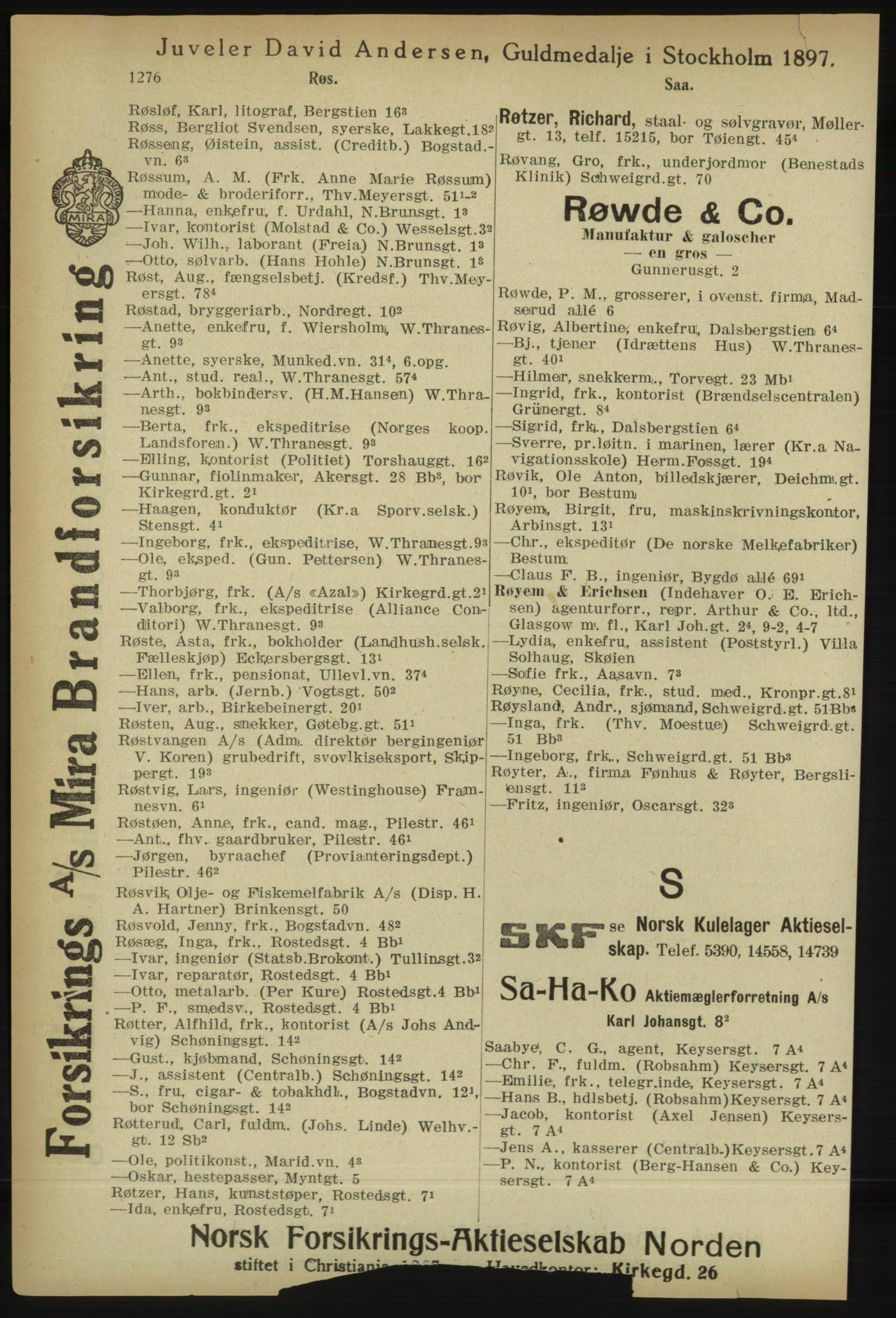 RA, Kristiania adressebok (publikasjon)*, 1918, s. 1276