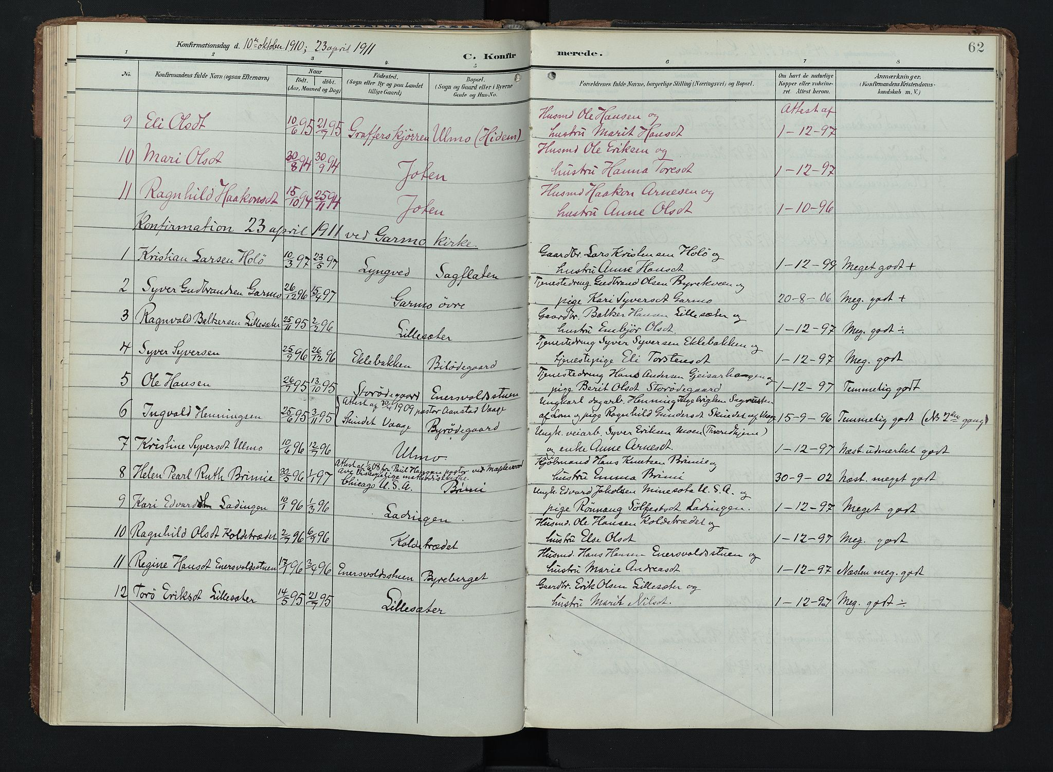 SAH, Lom prestekontor, K/L0011: Ministerialbok nr. 11, 1904-1928, s. 62
