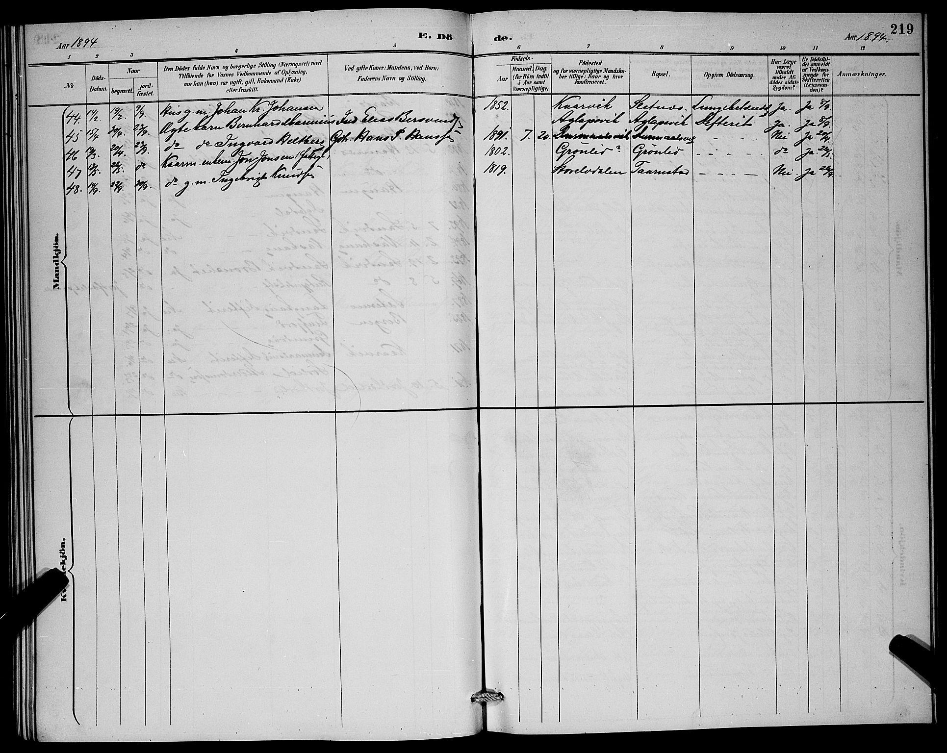 SATØ, Lenvik sokneprestembete, H/Ha: Klokkerbok nr. 7, 1890-1898, s. 219
