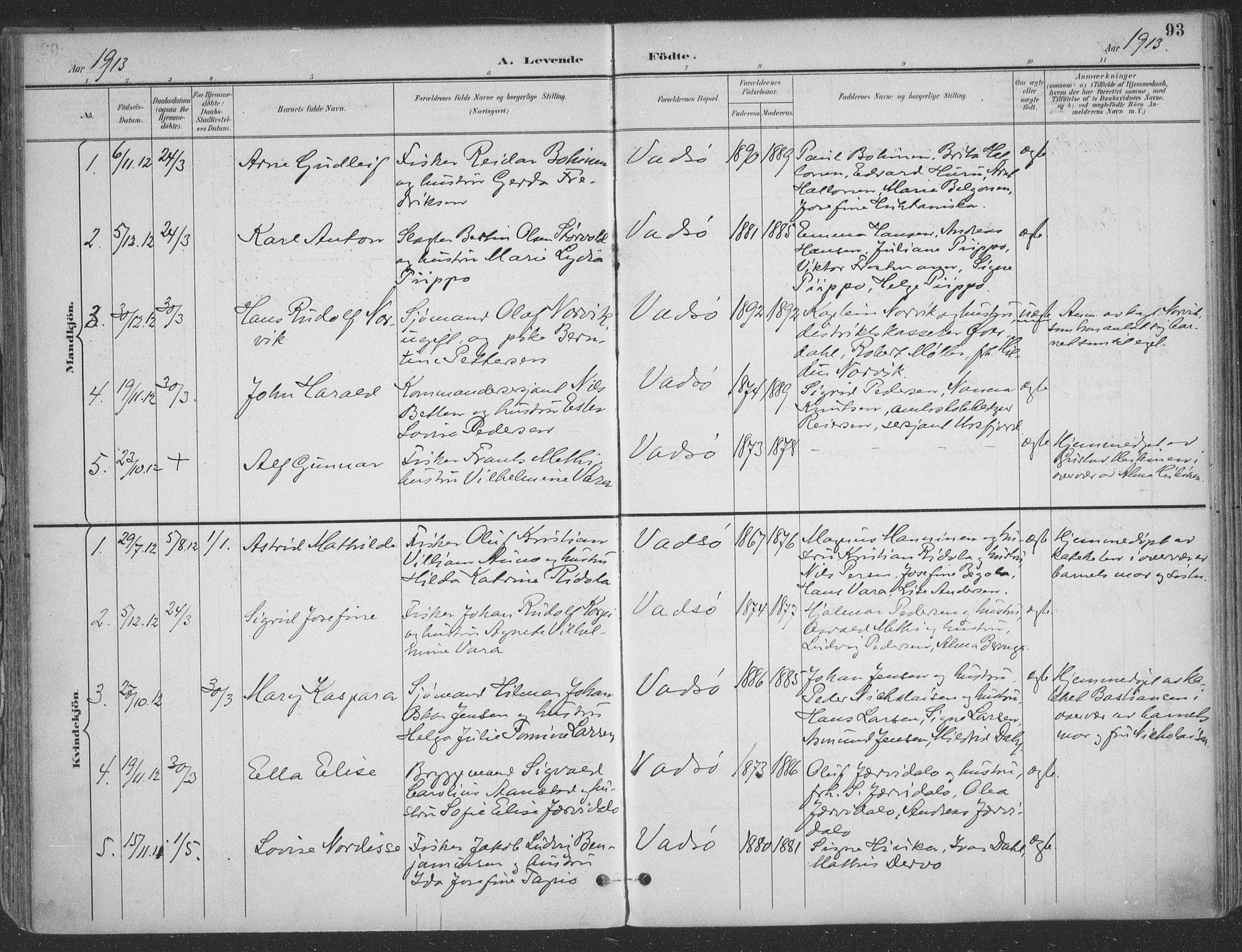 SATØ, Vadsø sokneprestkontor, H/Ha/L0007kirke: Ministerialbok nr. 7, 1896-1916, s. 93