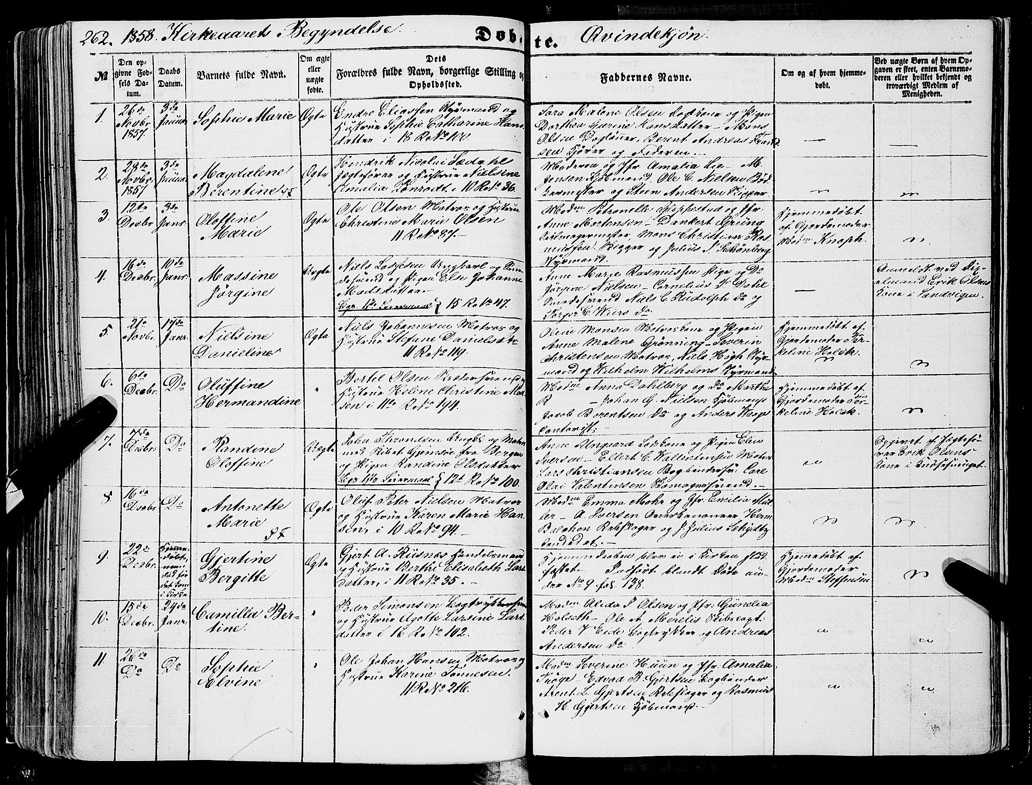 SAB, Domkirken Sokneprestembete, H/Haa/L0020: Ministerialbok nr. B 3, 1851-1859, s. 262