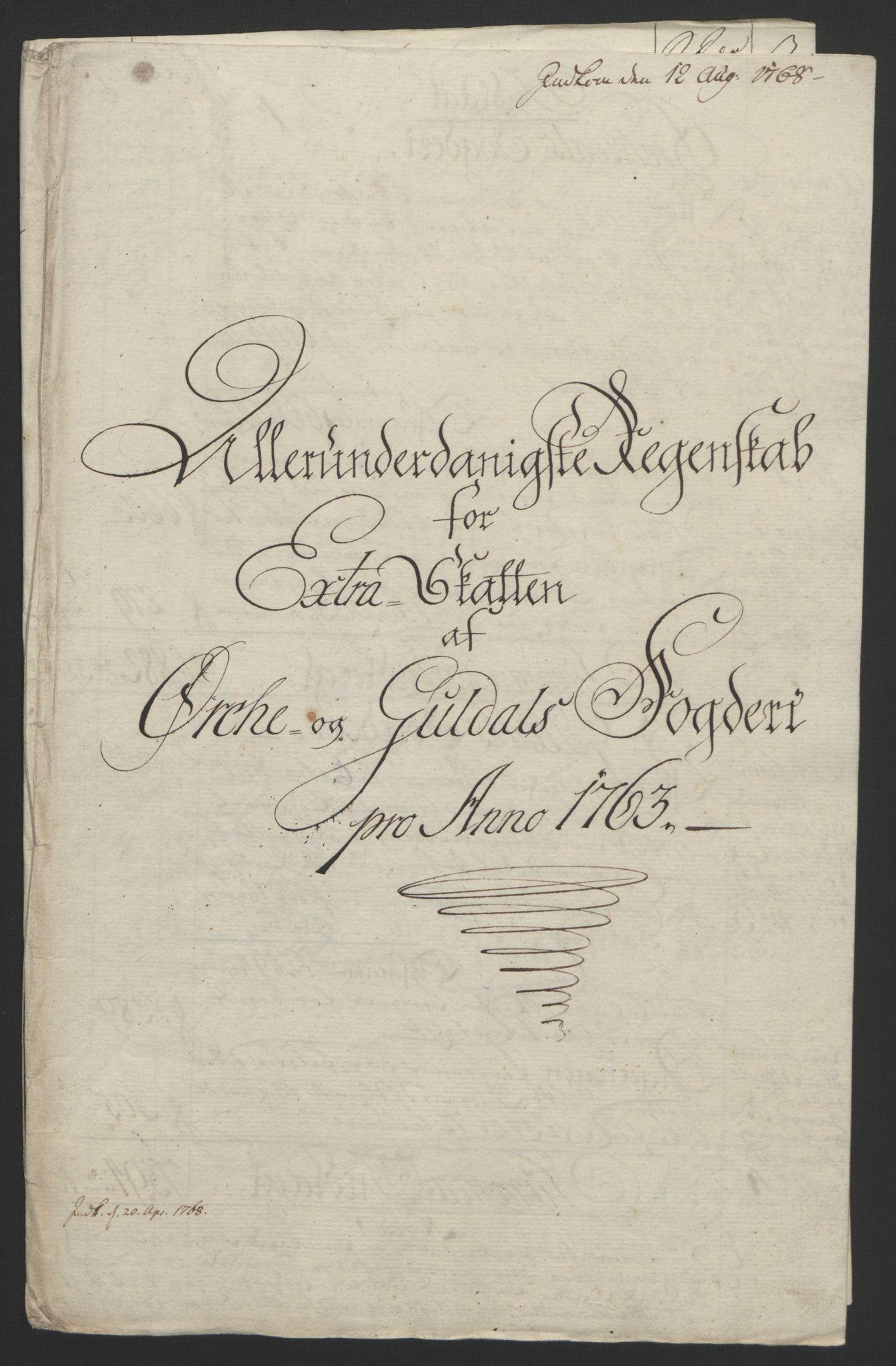 RA, Rentekammeret inntil 1814, Reviderte regnskaper, Fogderegnskap, R60/L4094: Ekstraskatten Orkdal og Gauldal, 1762-1765, s. 77