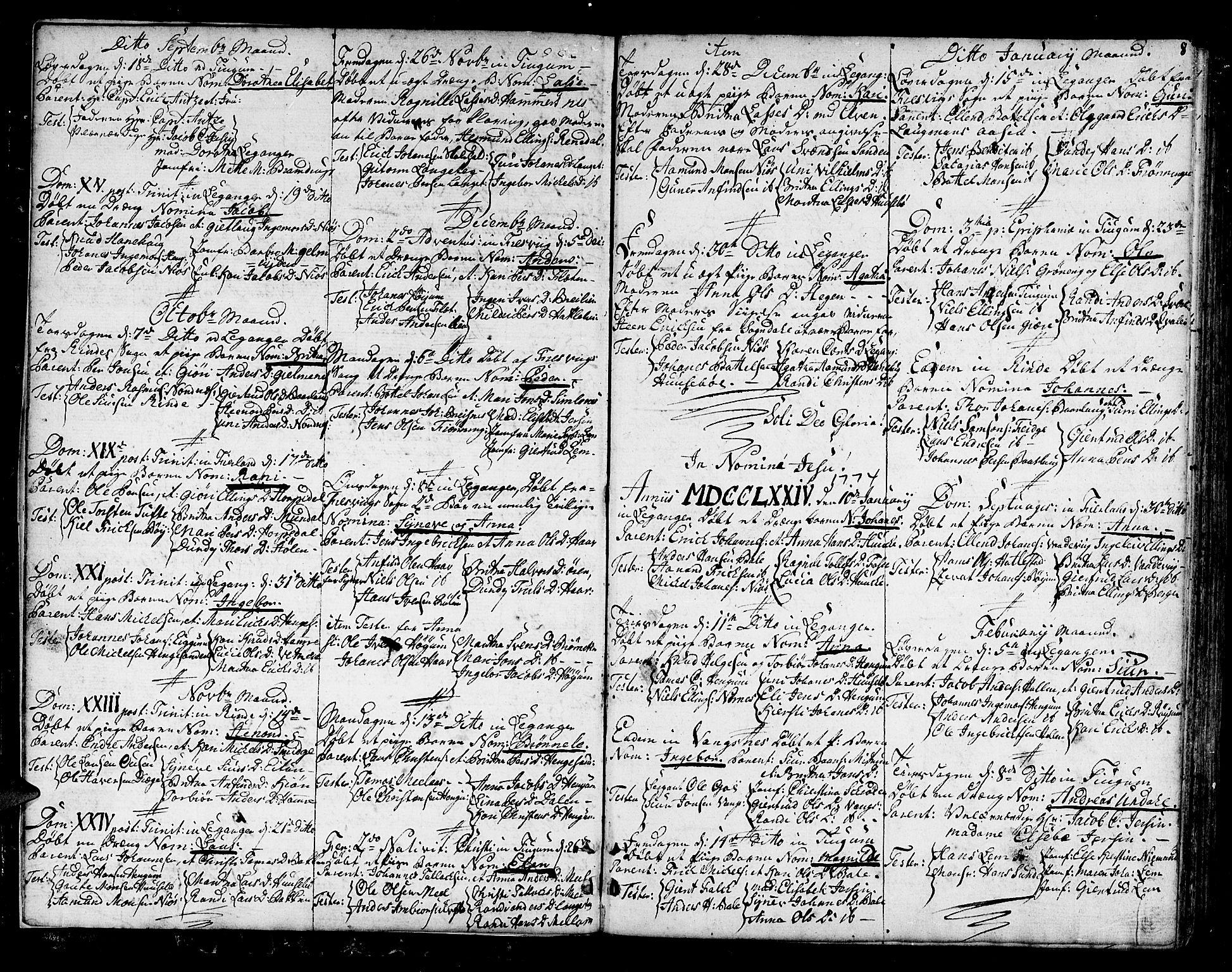SAB, Leikanger sokneprestembete, Ministerialbok nr. A 4, 1770-1791, s. 8