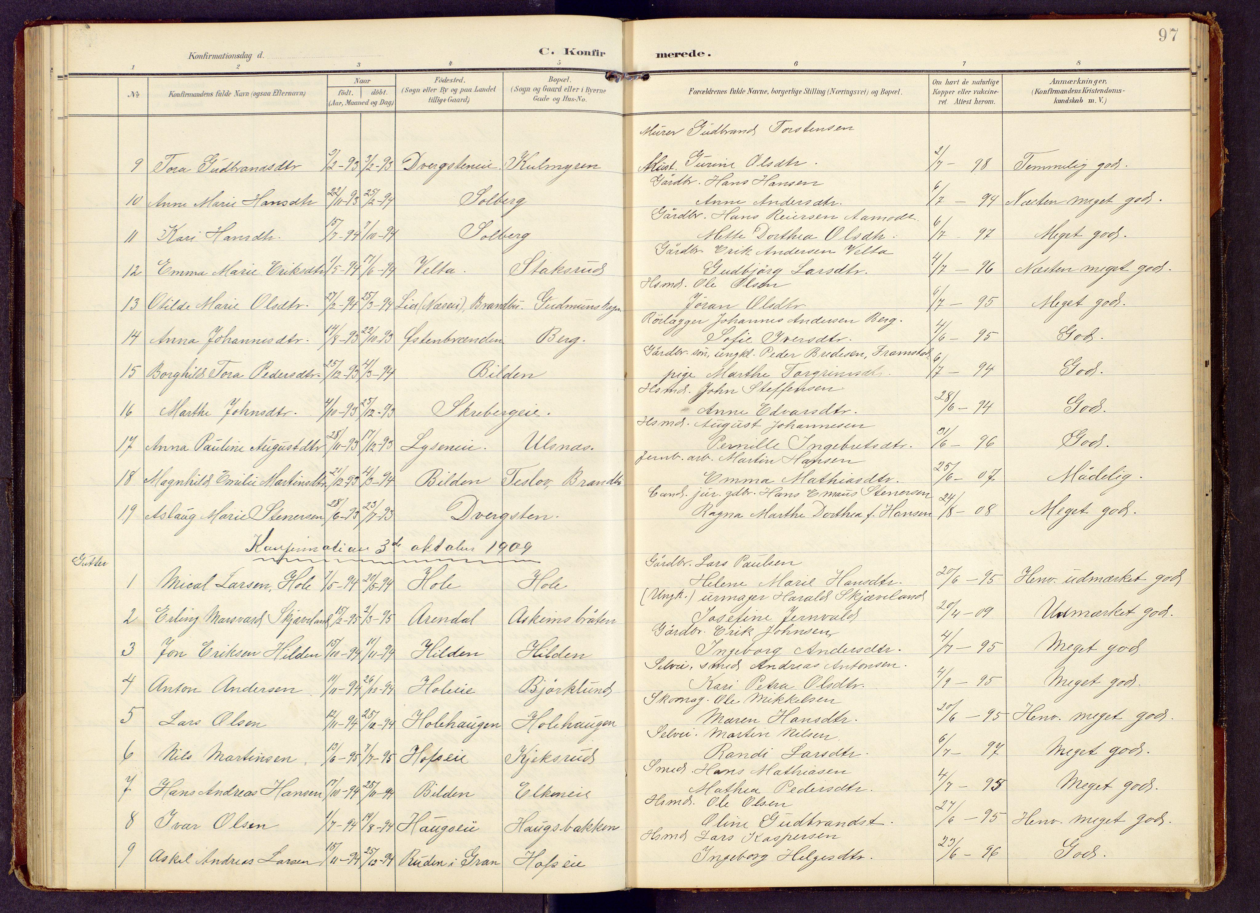 SAH, Brandbu prestekontor, Klokkerbok nr. 9, 1903-1916, s. 97