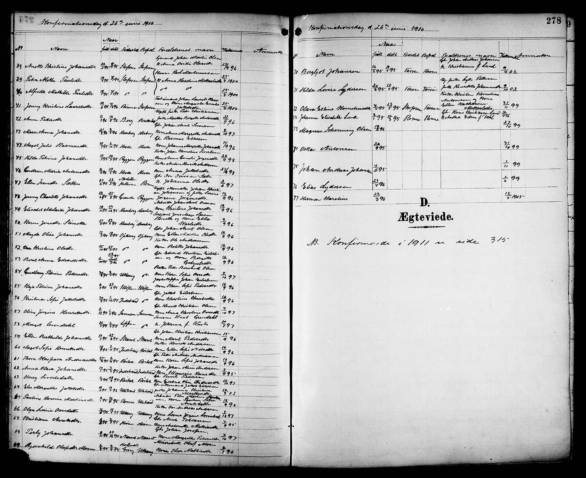 SAT, Ministerialprotokoller, klokkerbøker og fødselsregistre - Sør-Trøndelag, 659/L0746: Klokkerbok nr. 659C03, 1893-1912, s. 278