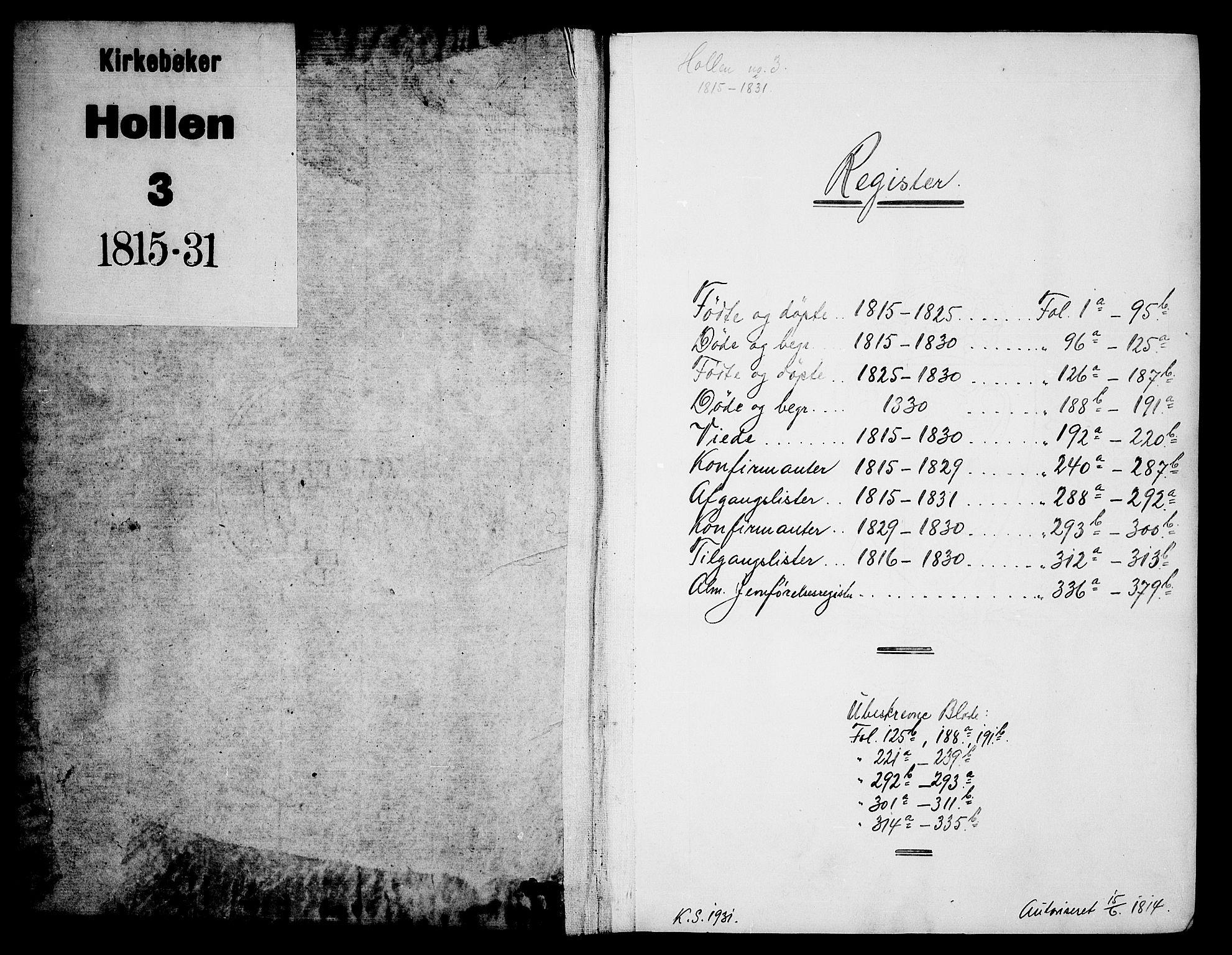 SAKO, Holla kirkebøker, G/Ga/L0001: Klokkerbok nr. I 1, 1814-1830