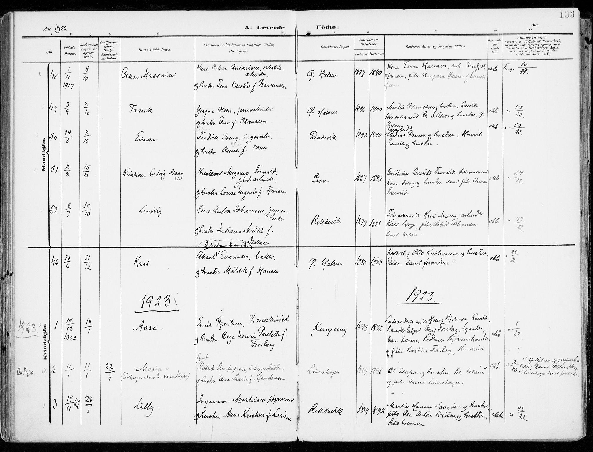 SAKO, Tjølling kirkebøker, F/Fa/L0010: Ministerialbok nr. 10, 1906-1923, s. 133
