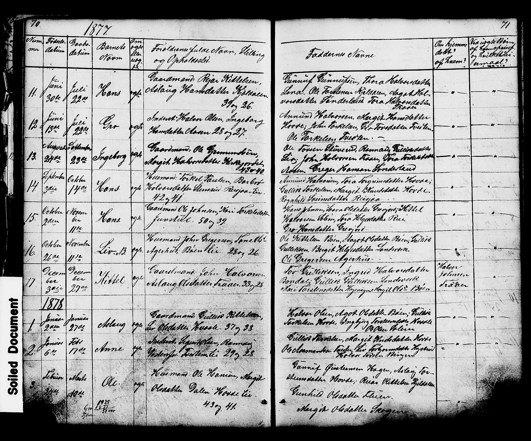 SAKO, Hjartdal kirkebøker, G/Gc/L0002: Klokkerbok nr. III 2, 1854-1890, s. 70-71