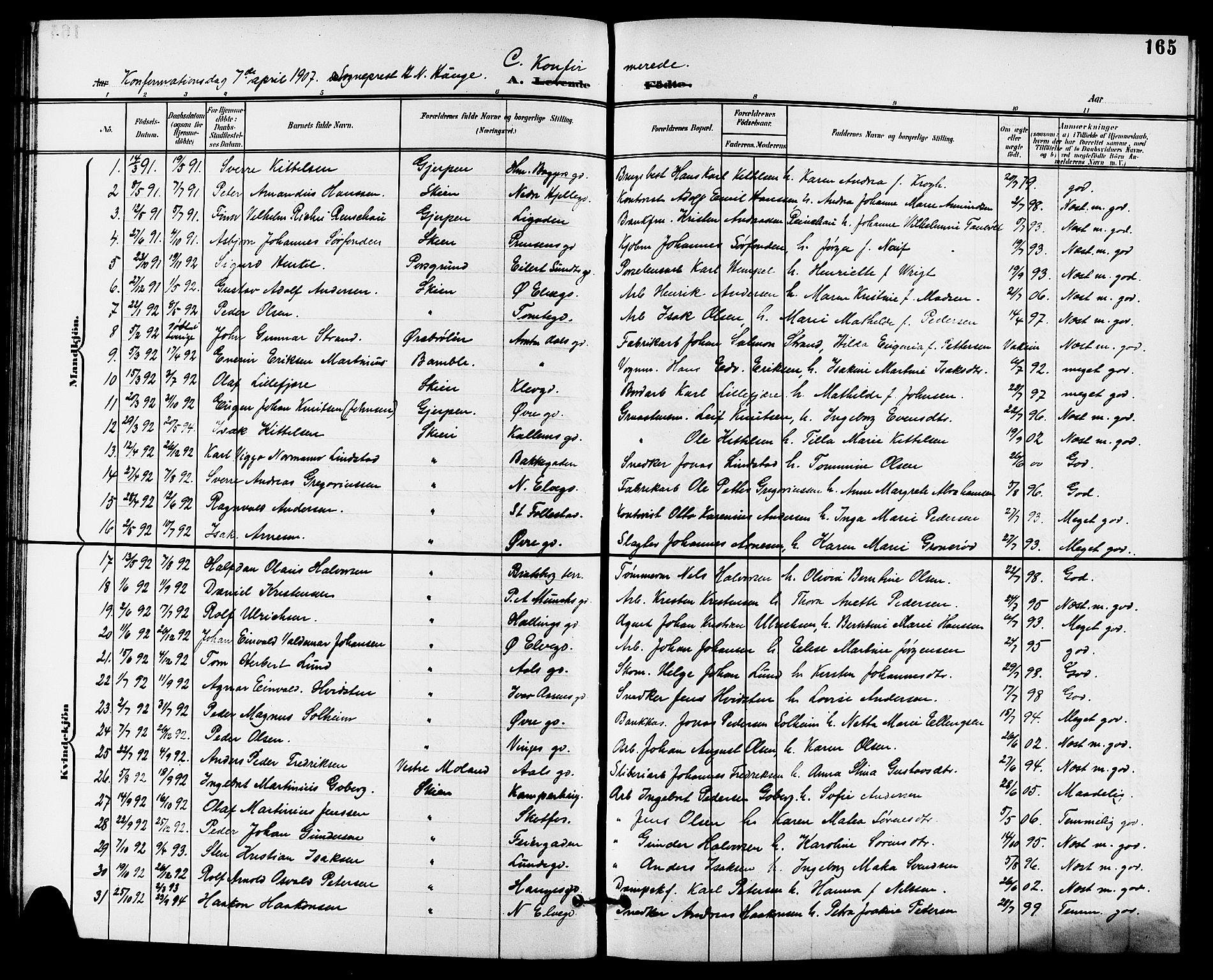 SAKO, Skien kirkebøker, G/Ga/L0008: Klokkerbok nr. 8, 1900-1910, s. 165