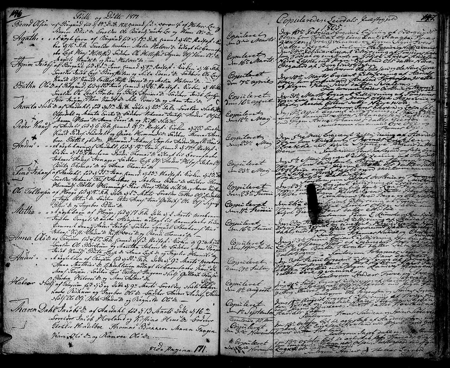 SAB, Lærdal sokneprestembete, Ministerialbok nr. A 4, 1805-1821, s. 146-147