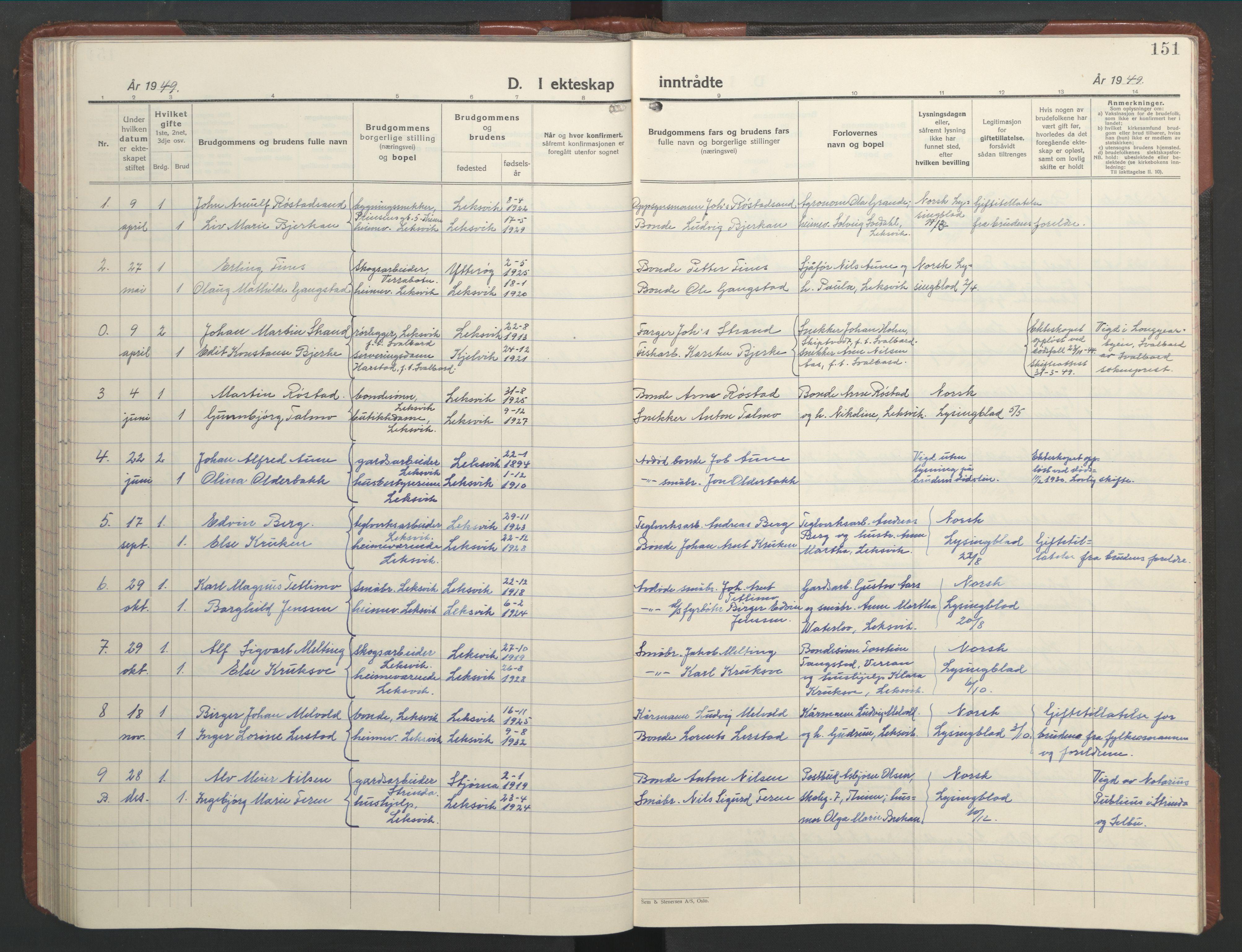 SAT, Ministerialprotokoller, klokkerbøker og fødselsregistre - Nord-Trøndelag, 701/L0019: Klokkerbok nr. 701C03, 1930-1953, s. 151