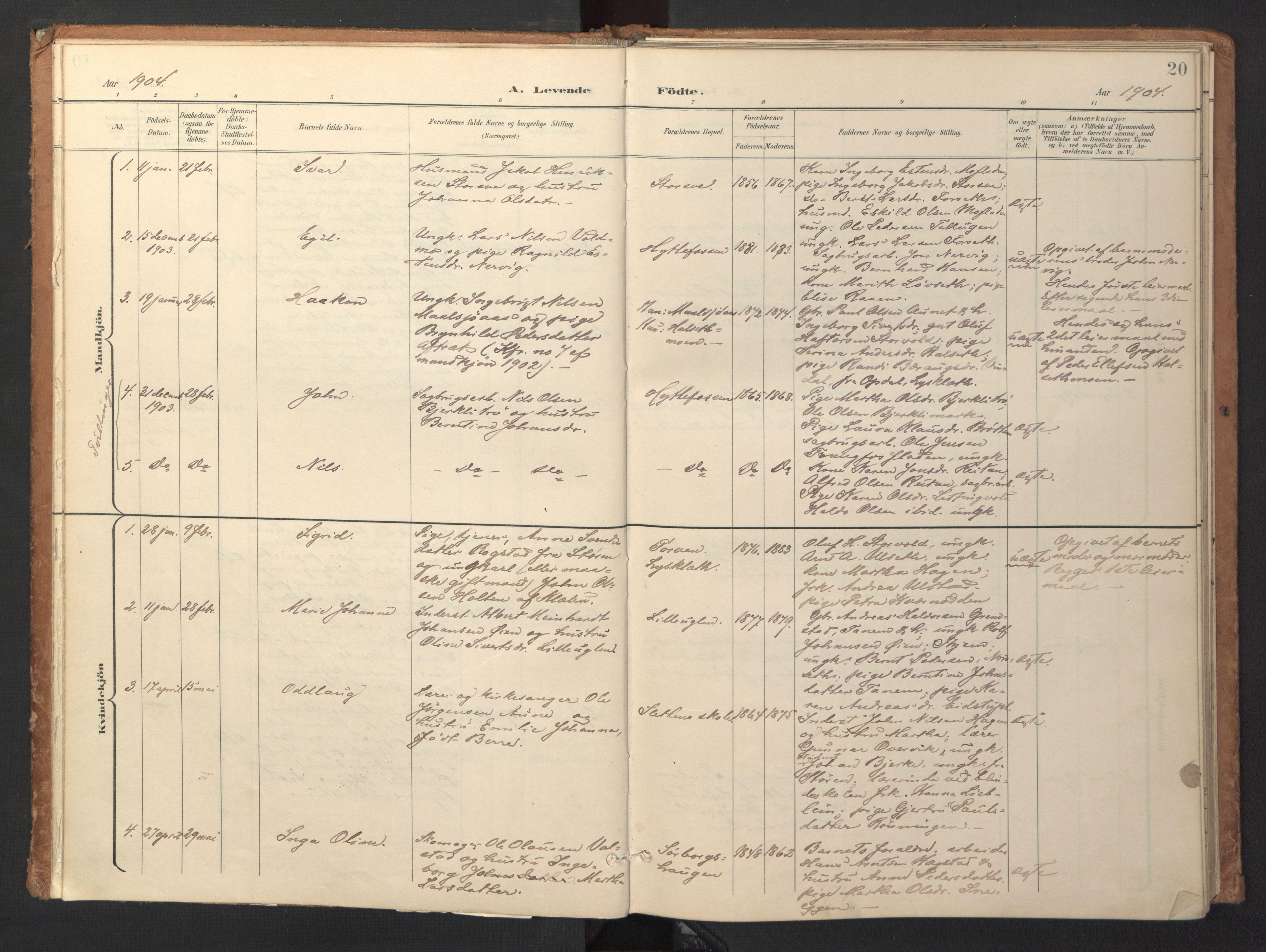 SAT, Ministerialprotokoller, klokkerbøker og fødselsregistre - Sør-Trøndelag, 618/L0448: Ministerialbok nr. 618A11, 1898-1916, s. 20