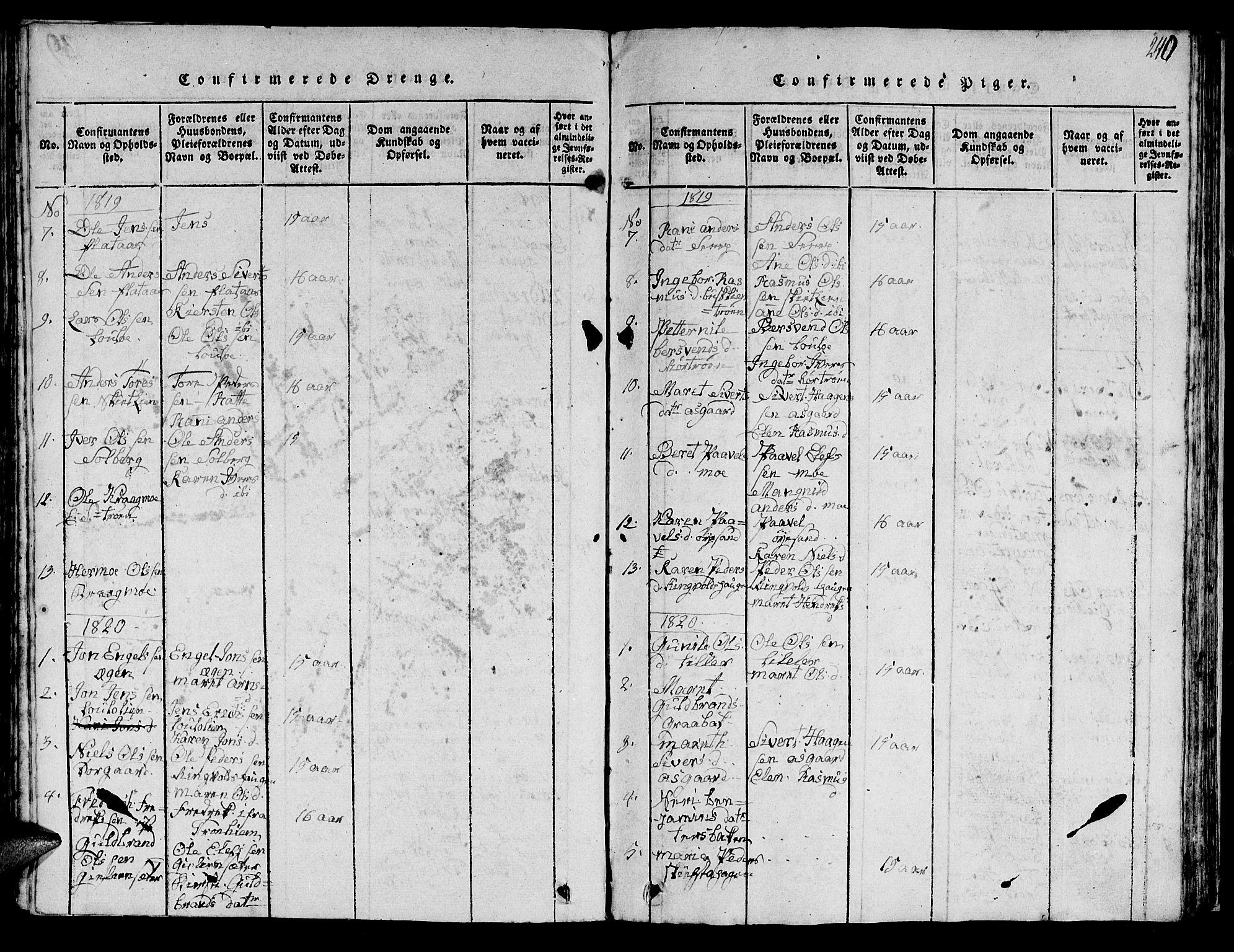 SAT, Ministerialprotokoller, klokkerbøker og fødselsregistre - Sør-Trøndelag, 613/L0393: Klokkerbok nr. 613C01, 1816-1886, s. 240