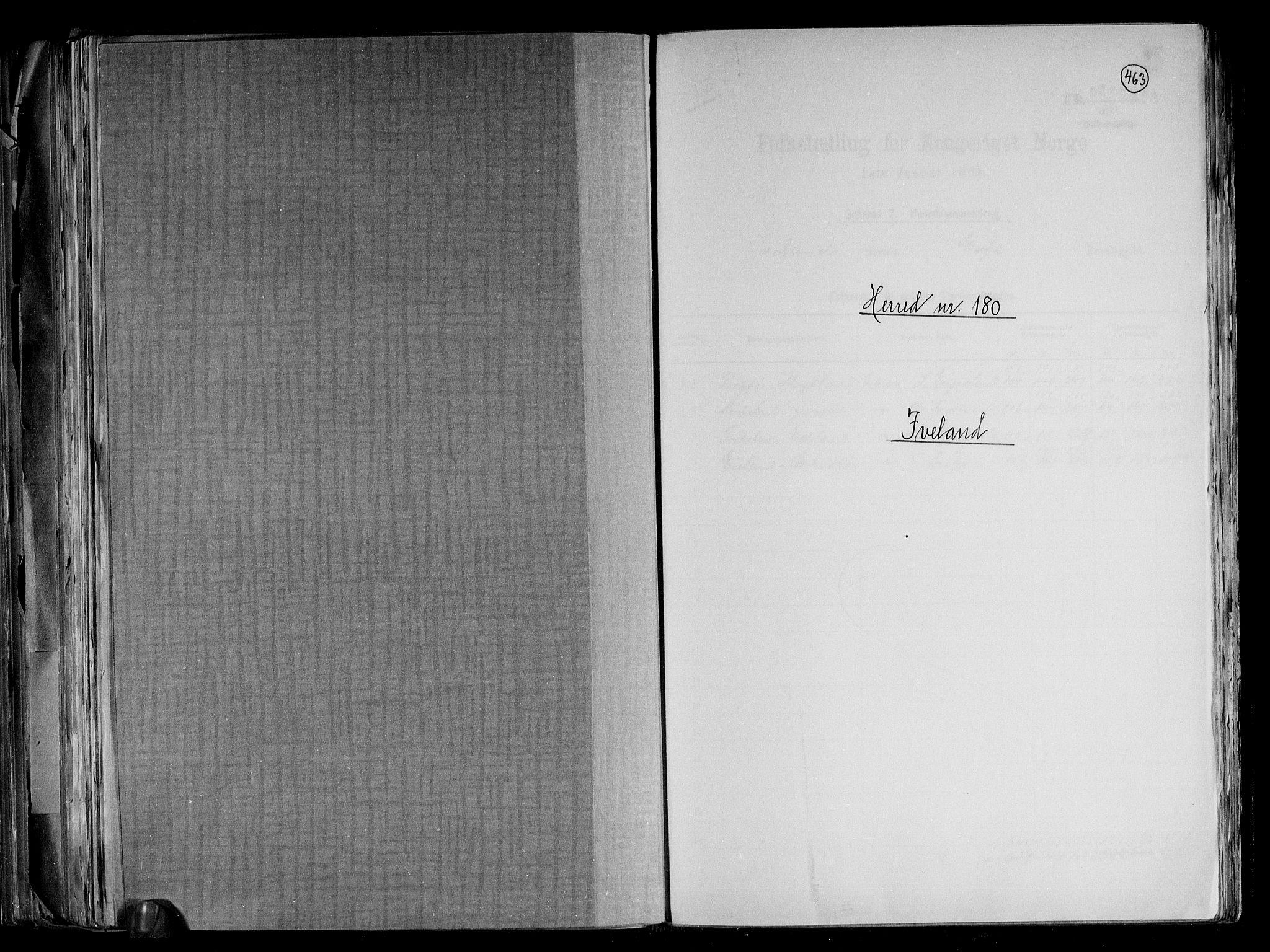 RA, Folketelling 1891 for 0935 Iveland herred, 1891, s. 1