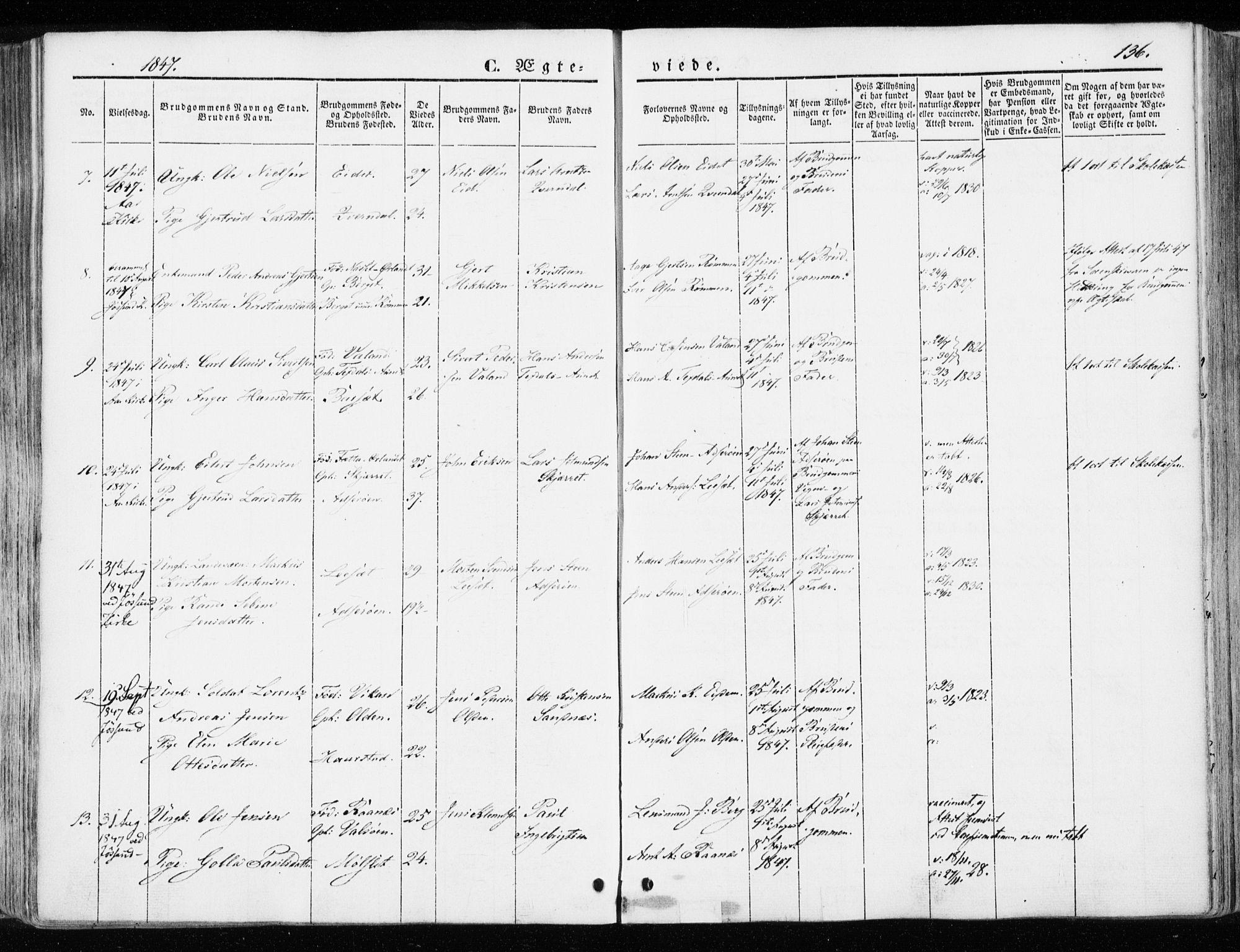 SAT, Ministerialprotokoller, klokkerbøker og fødselsregistre - Sør-Trøndelag, 655/L0677: Ministerialbok nr. 655A06, 1847-1860, s. 136