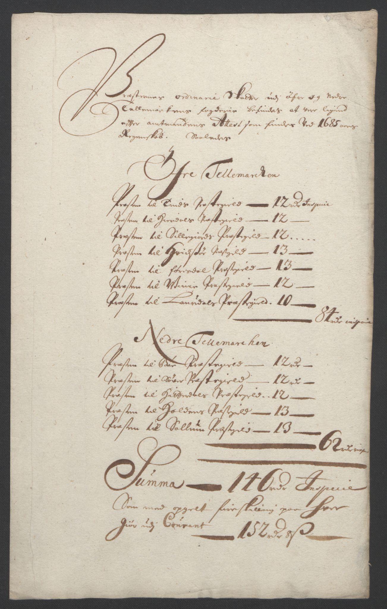 RA, Rentekammeret inntil 1814, Reviderte regnskaper, Fogderegnskap, R36/L2093: Fogderegnskap Øvre og Nedre Telemark og Bamble, 1695, s. 334