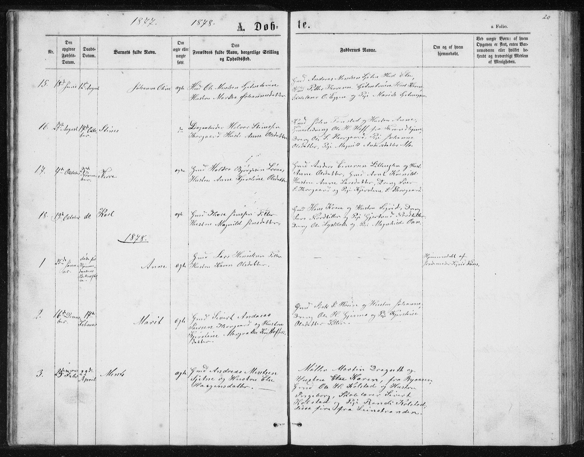 SAT, Ministerialprotokoller, klokkerbøker og fødselsregistre - Sør-Trøndelag, 621/L0459: Klokkerbok nr. 621C02, 1866-1895, s. 20