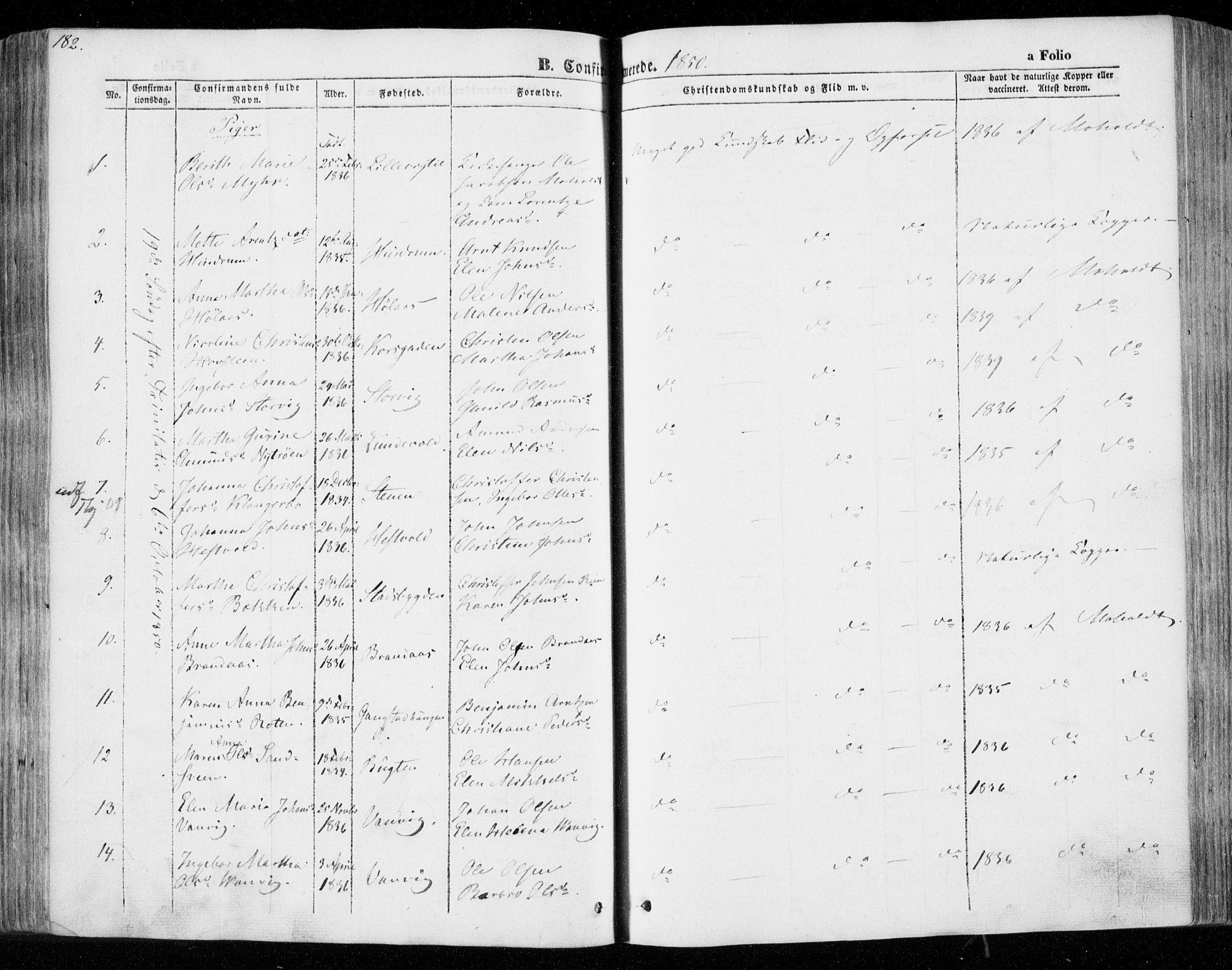 SAT, Ministerialprotokoller, klokkerbøker og fødselsregistre - Nord-Trøndelag, 701/L0007: Ministerialbok nr. 701A07 /1, 1842-1854, s. 182