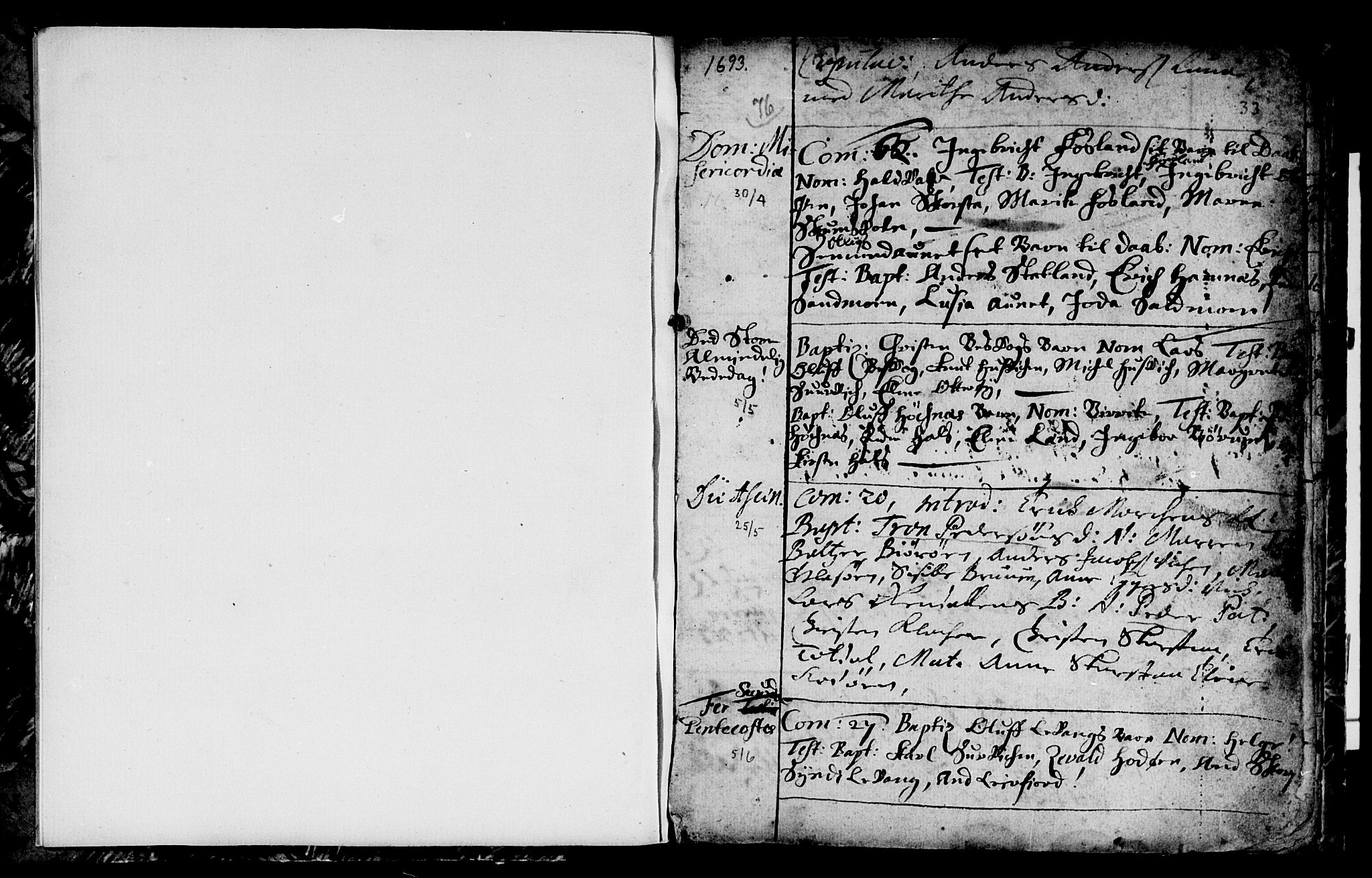 SAT, Ministerialprotokoller, klokkerbøker og fødselsregistre - Nord-Trøndelag, 774/L0627: Ministerialbok nr. 774A01, 1693-1738, s. 32-33