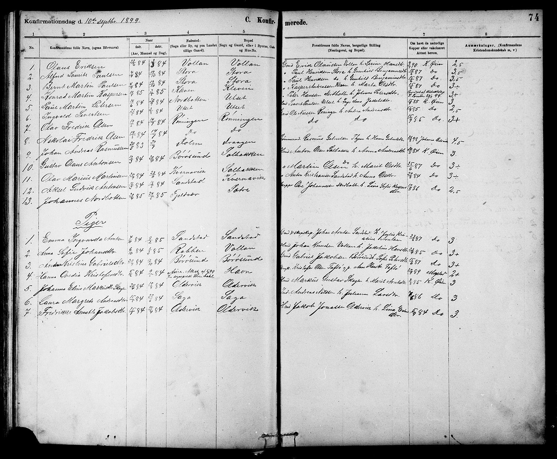 SAT, Ministerialprotokoller, klokkerbøker og fødselsregistre - Sør-Trøndelag, 639/L0573: Klokkerbok nr. 639C01, 1890-1905, s. 74