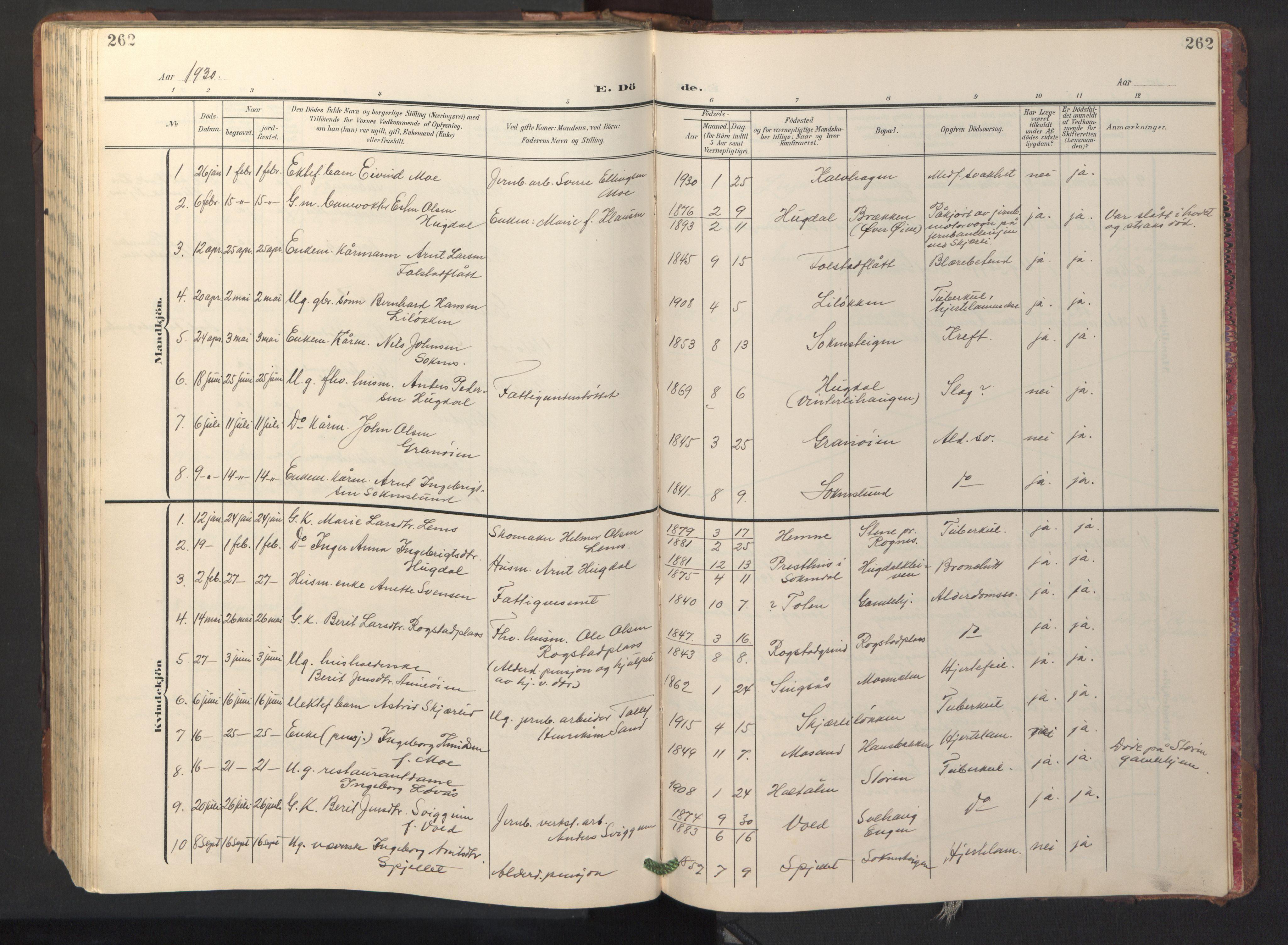 SAT, Ministerialprotokoller, klokkerbøker og fødselsregistre - Sør-Trøndelag, 687/L1019: Klokkerbok nr. 687C03, 1904-1931, s. 262