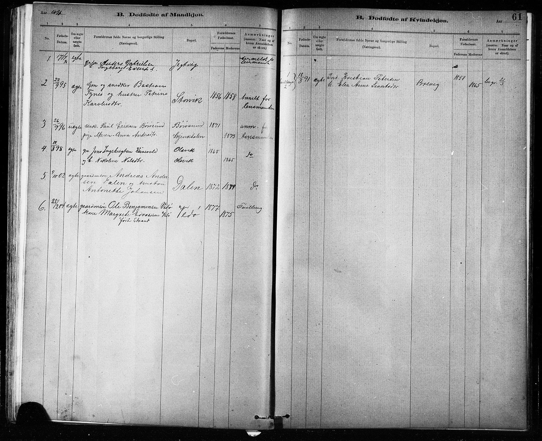 SAT, Ministerialprotokoller, klokkerbøker og fødselsregistre - Sør-Trøndelag, 639/L0573: Klokkerbok nr. 639C01, 1890-1905, s. 61