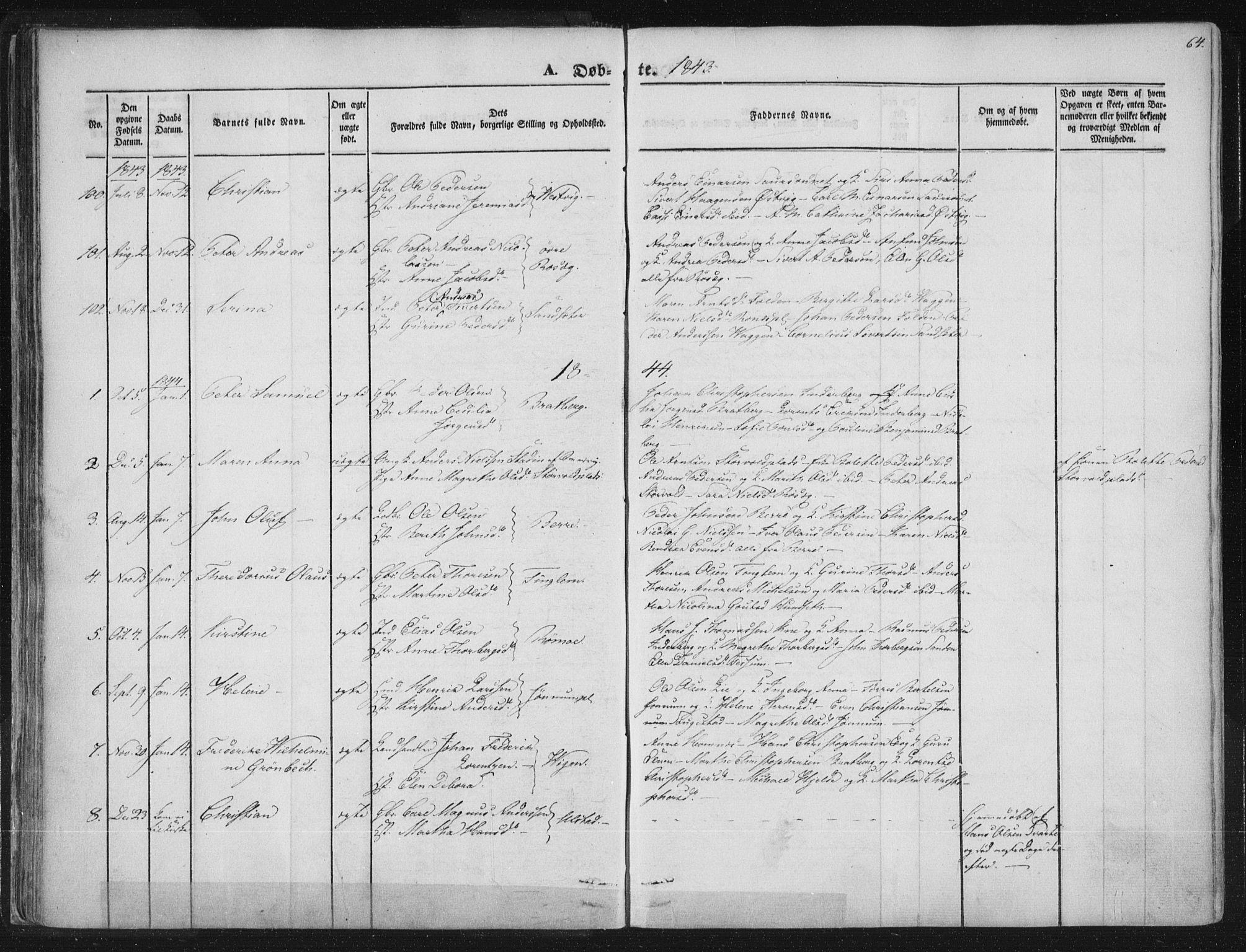 SAT, Ministerialprotokoller, klokkerbøker og fødselsregistre - Nord-Trøndelag, 741/L0392: Ministerialbok nr. 741A06, 1836-1848, s. 64