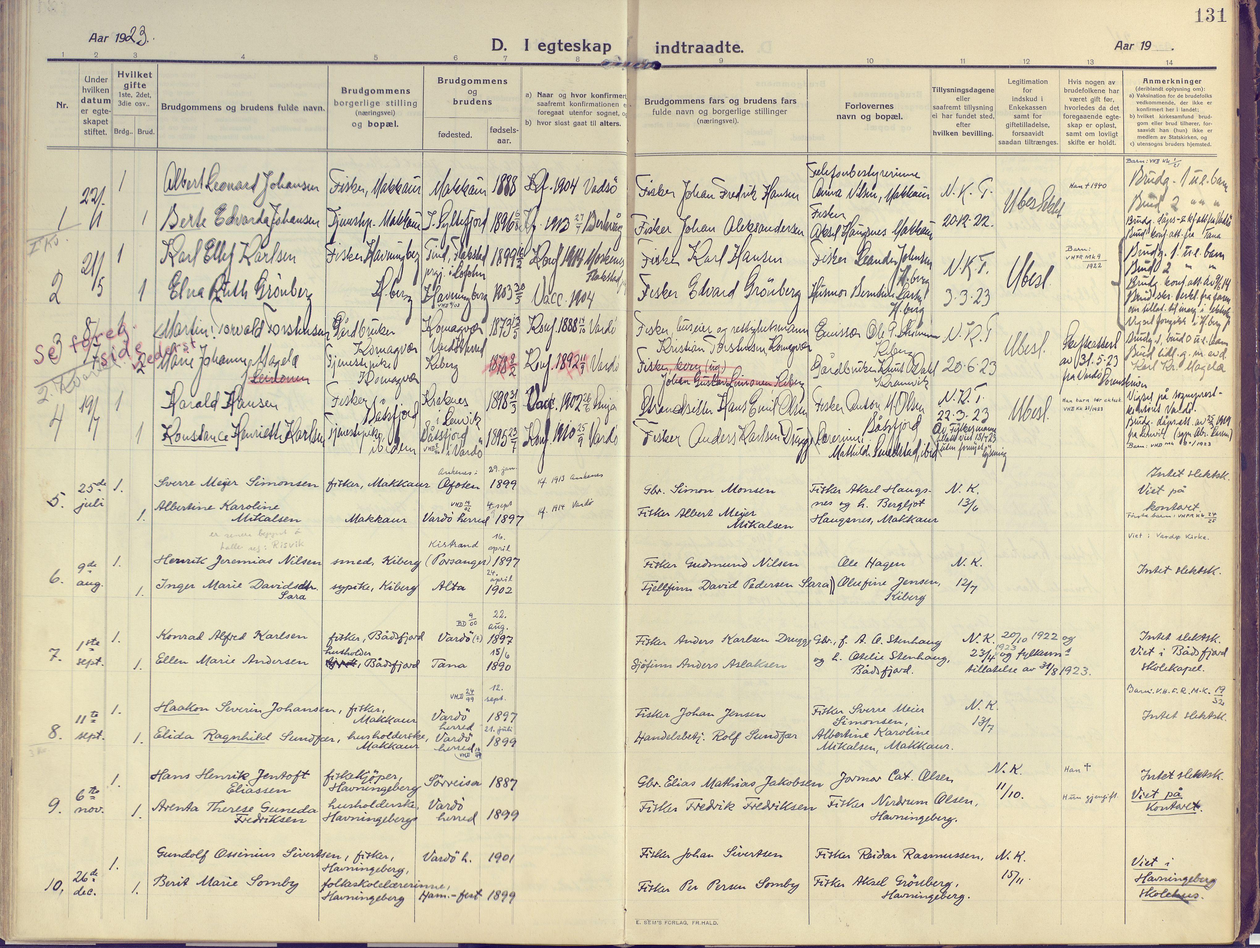 SATØ, Vardø sokneprestkontor, H/Ha/L0013kirke: Ministerialbok nr. 13, 1912-1928, s. 131