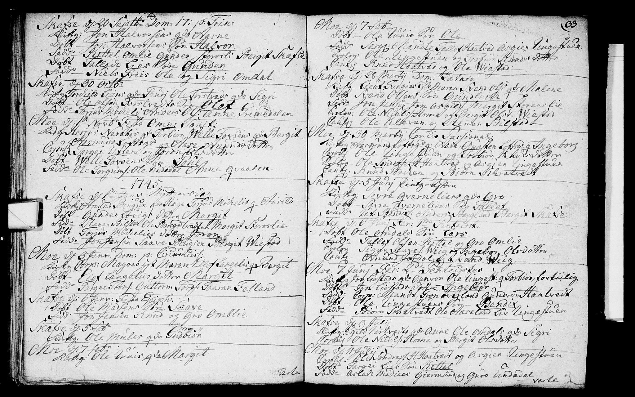 SAKO, Mo kirkebøker, F/Fa/L0001: Ministerialbok nr. I 1, 1724-1748, s. 33