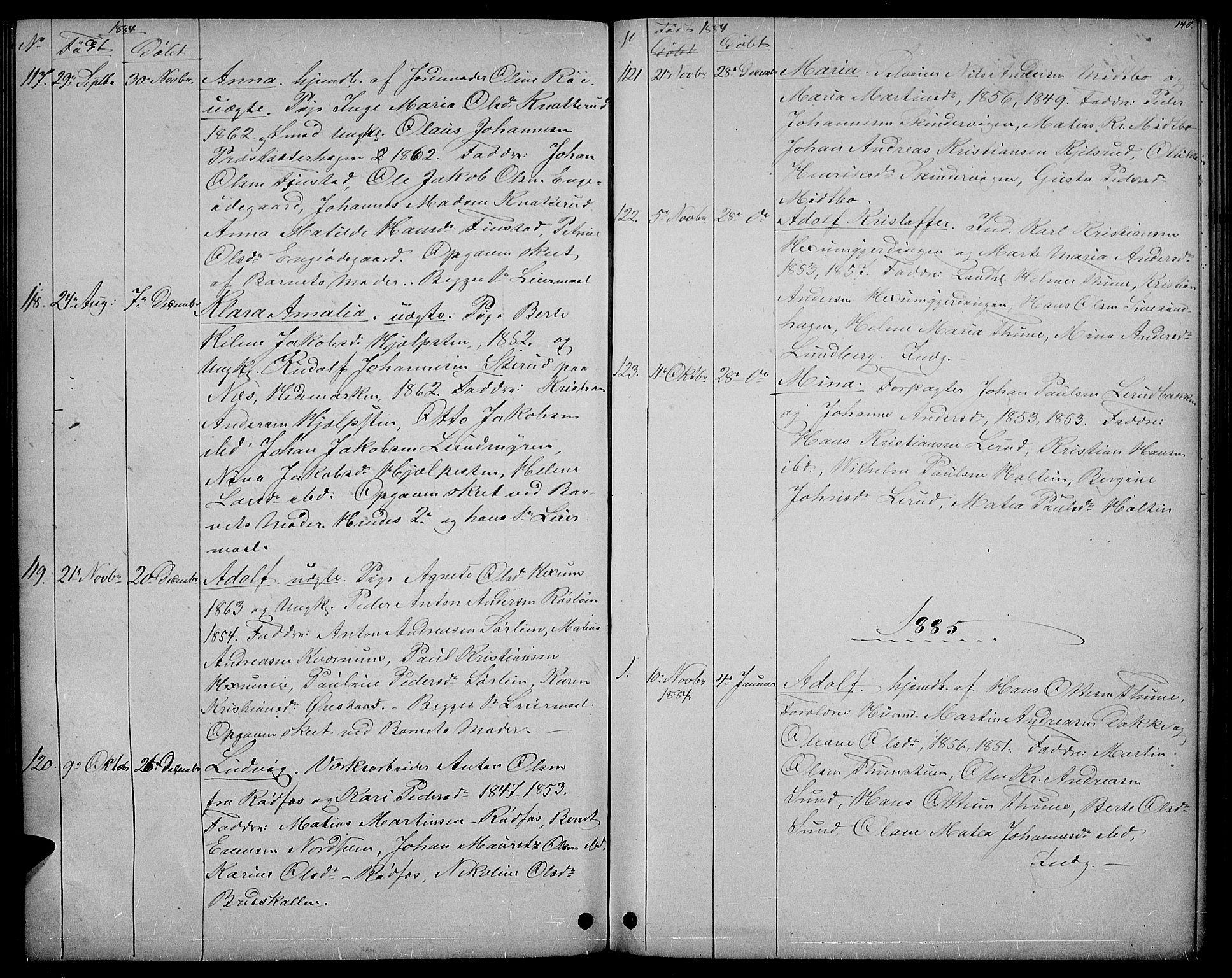 SAH, Vestre Toten prestekontor, Klokkerbok nr. 6, 1870-1887, s. 140