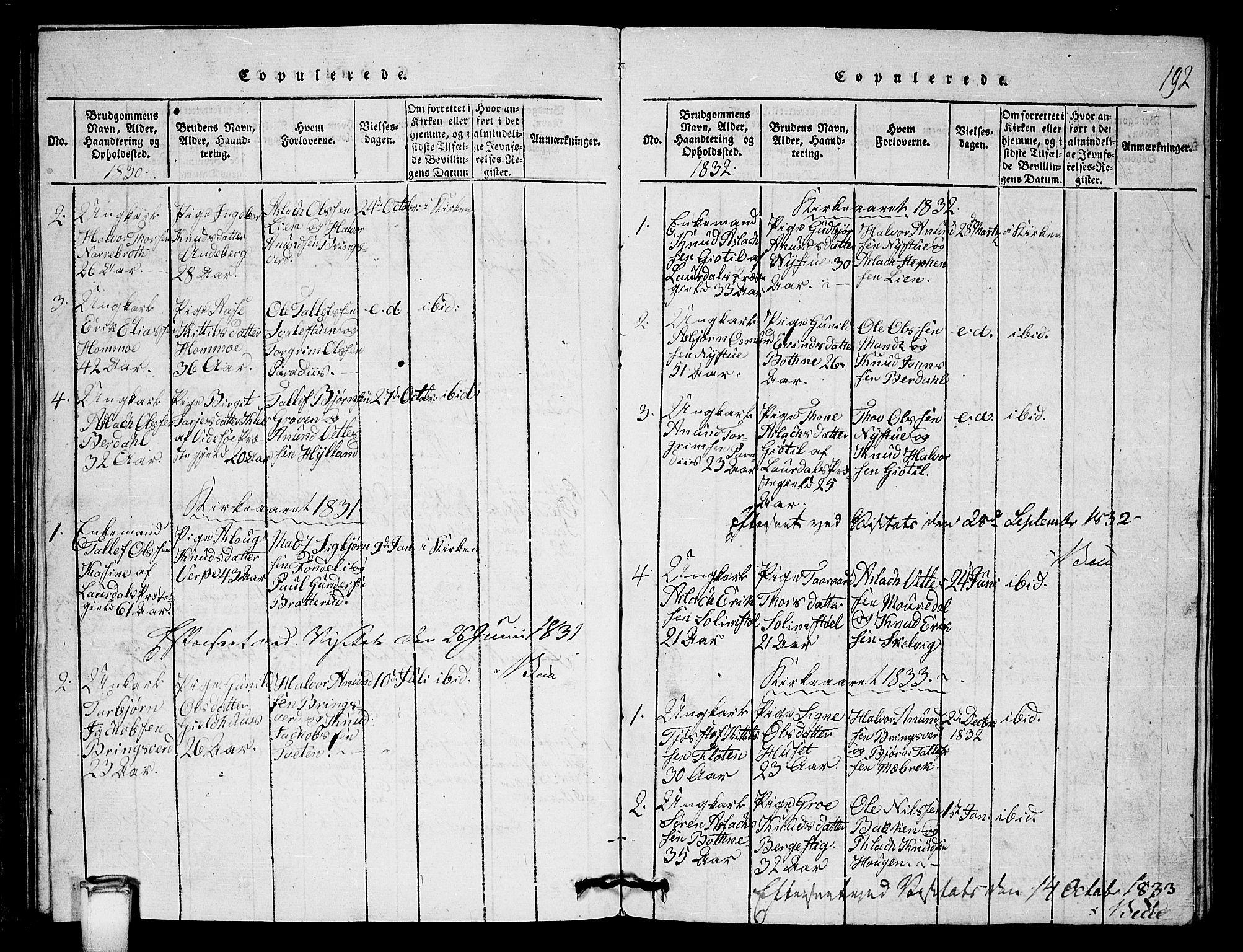 SAKO, Vinje kirkebøker, G/Gb/L0001: Klokkerbok nr. II 1, 1814-1843, s. 192