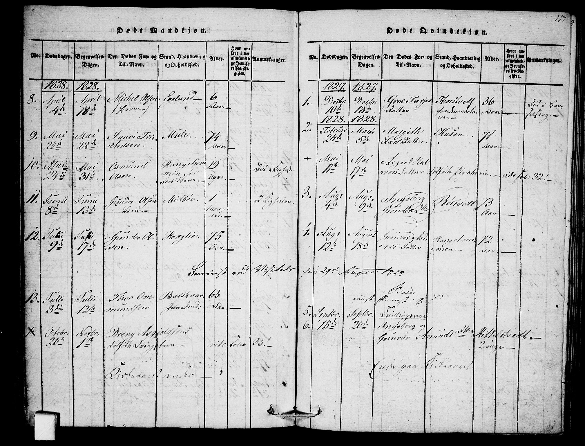 SAKO, Mo kirkebøker, F/Fb/L0001: Ministerialbok nr. II 1, 1814-1844, s. 107
