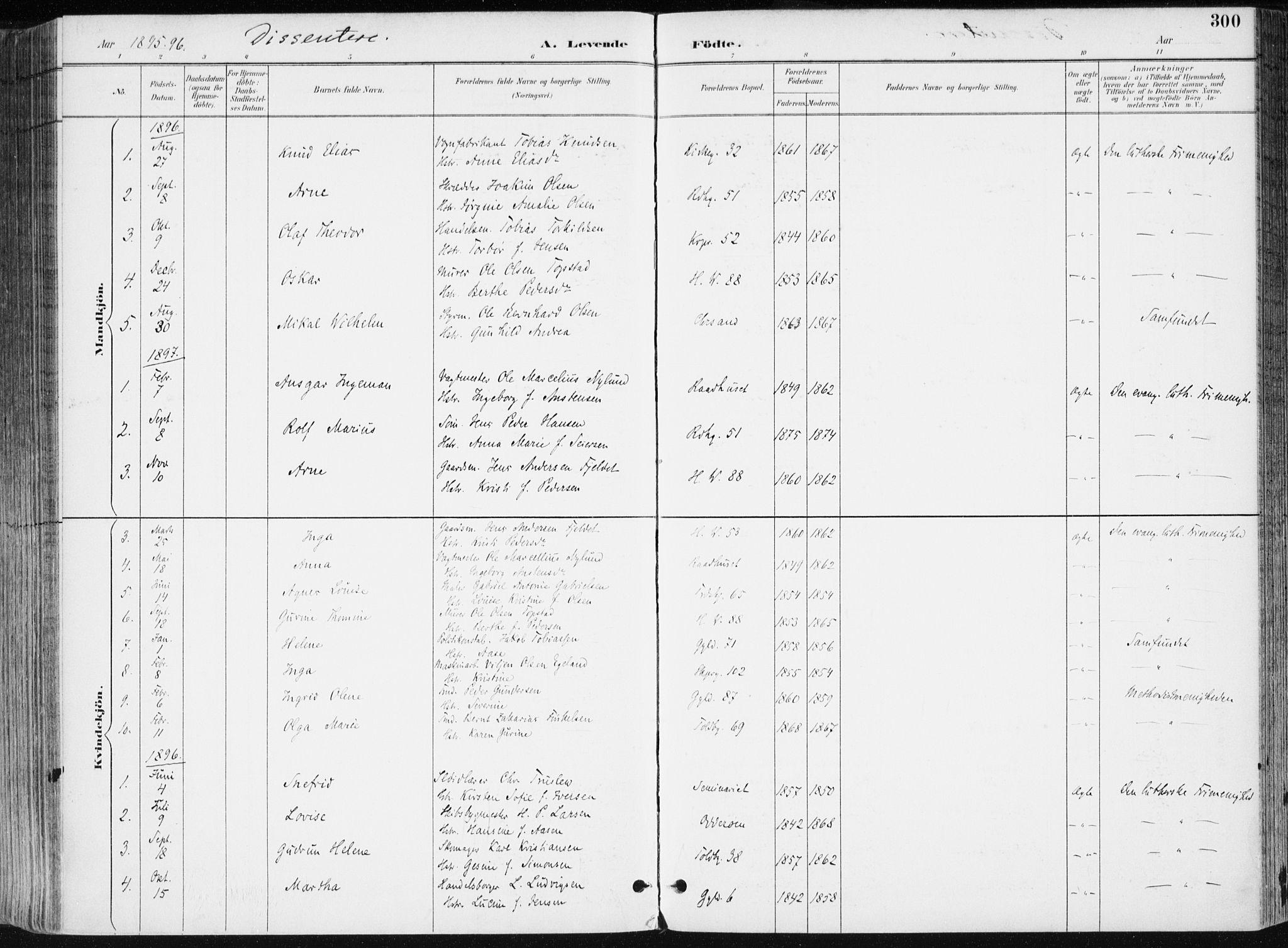 SAK, Kristiansand domprosti, F/Fa/L0019: Ministerialbok nr. A 18, 1890-1897, s. 300