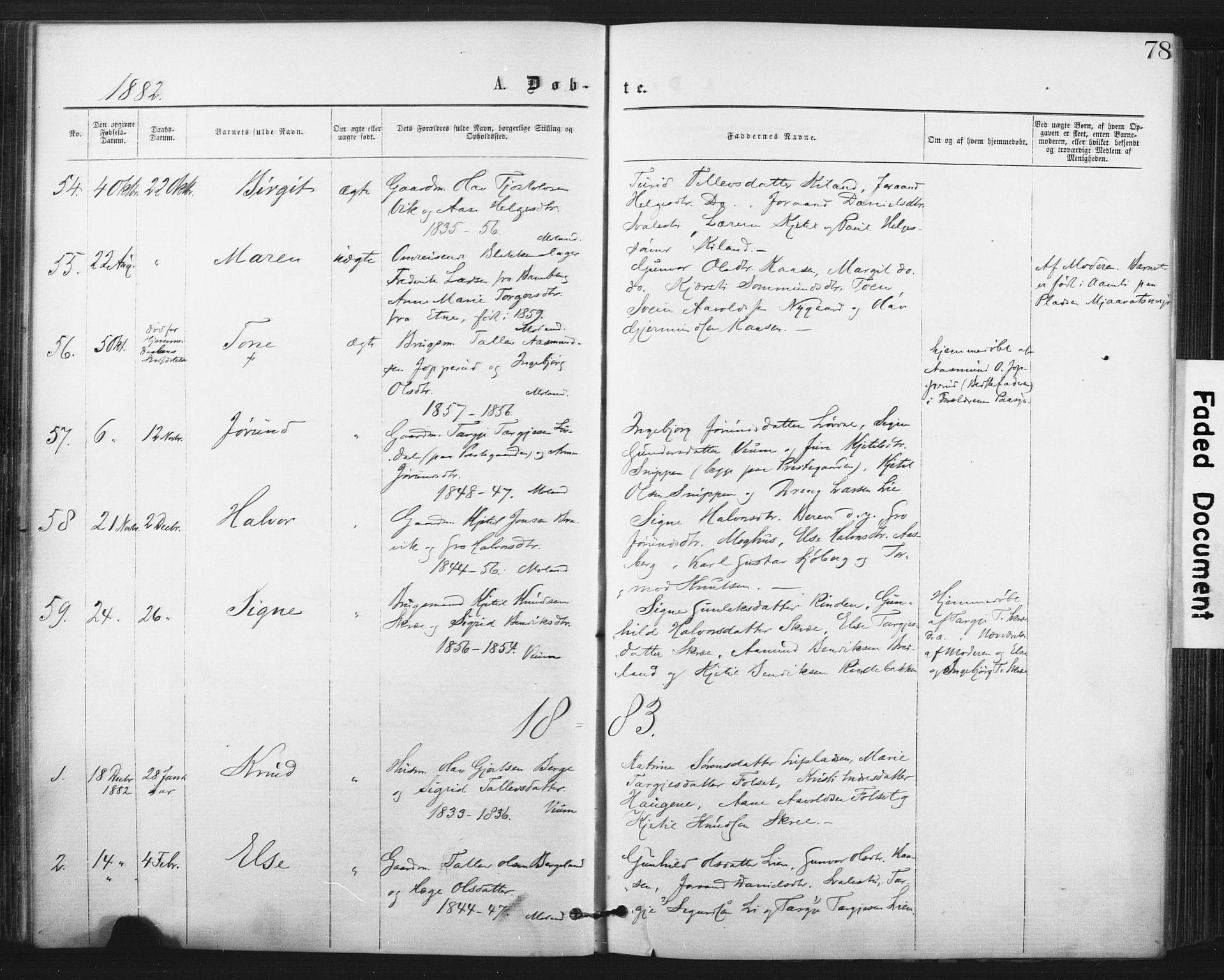 SAKO, Fyresdal kirkebøker, F/Fa/L0006: Ministerialbok nr. I 6, 1872-1886, s. 78