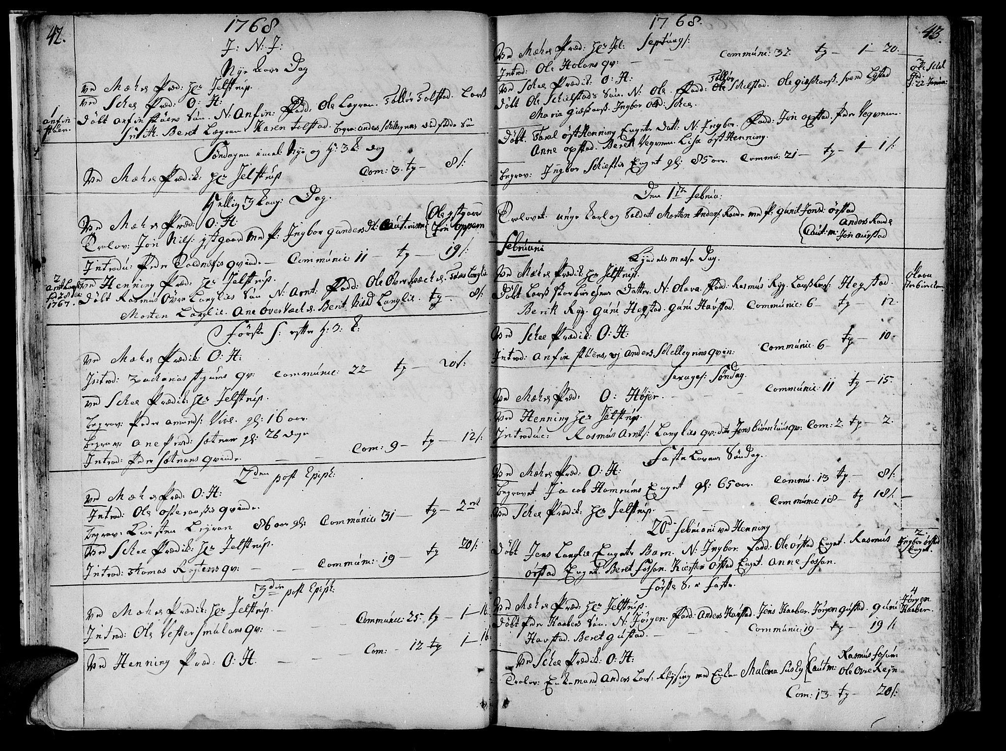 SAT, Ministerialprotokoller, klokkerbøker og fødselsregistre - Nord-Trøndelag, 735/L0331: Ministerialbok nr. 735A02, 1762-1794, s. 42-43