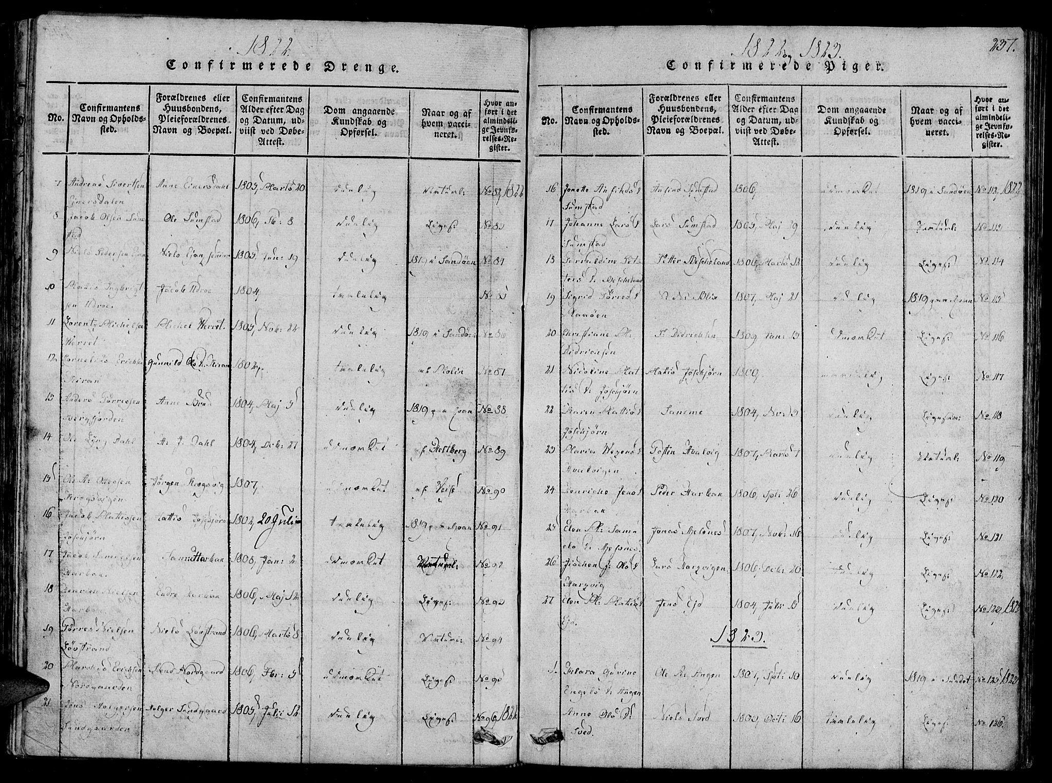 SAT, Ministerialprotokoller, klokkerbøker og fødselsregistre - Sør-Trøndelag, 657/L0702: Ministerialbok nr. 657A03, 1818-1831, s. 237