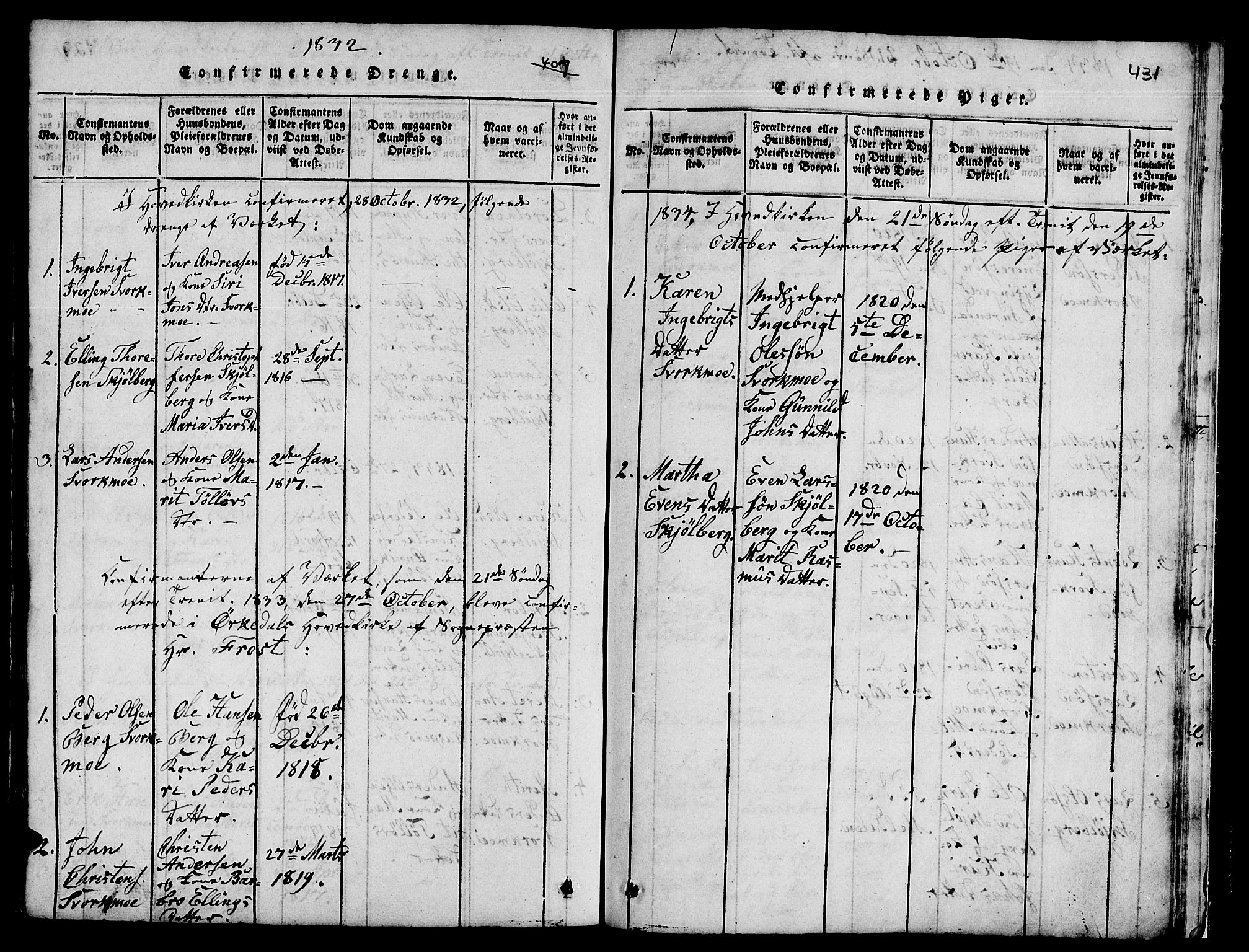 SAT, Ministerialprotokoller, klokkerbøker og fødselsregistre - Sør-Trøndelag, 671/L0842: Klokkerbok nr. 671C01, 1816-1867, s. 430-431