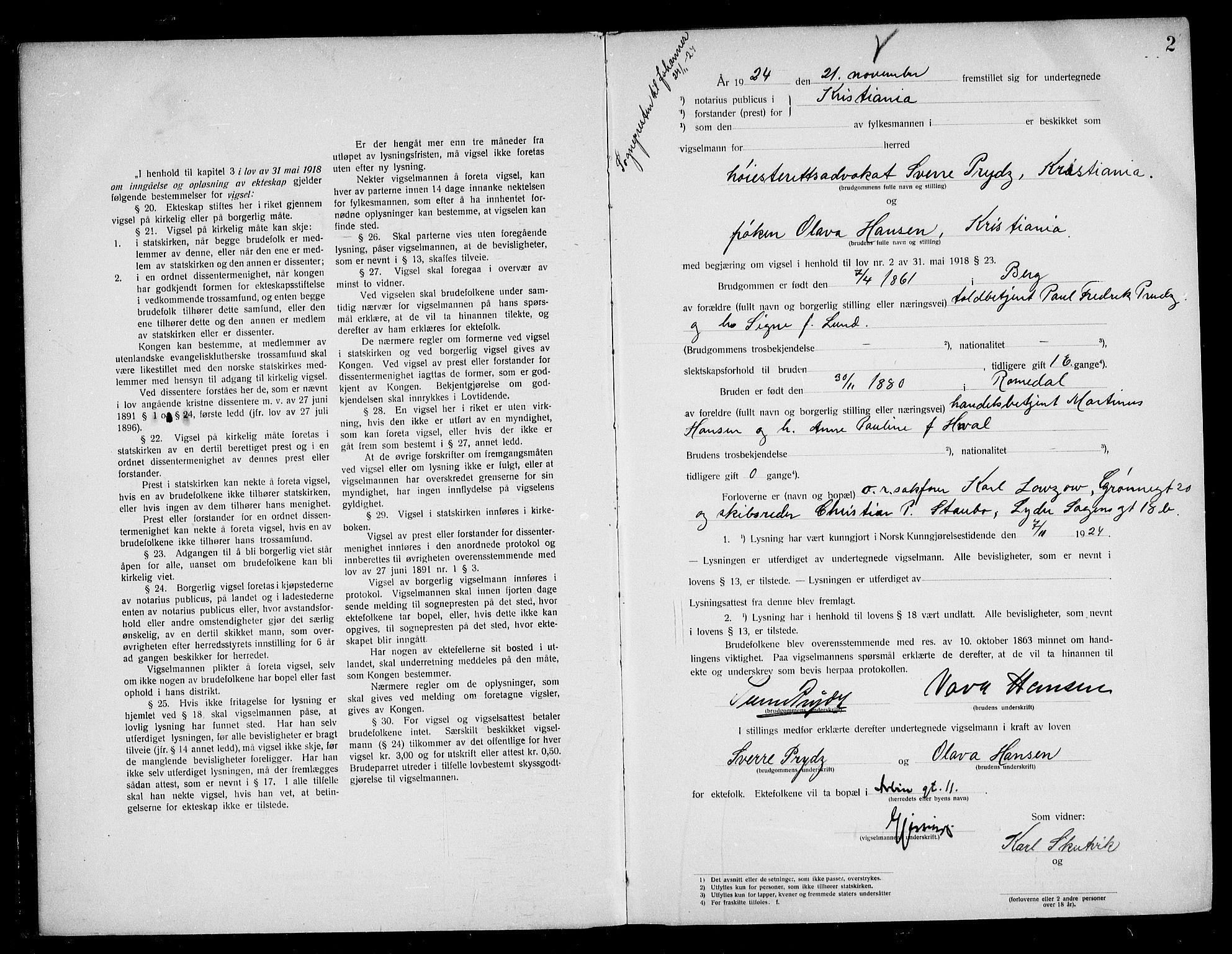SAO, Oslo byfogd avd. I, L/Lb/Lbb/L0017: Notarialprotokoll, rekke II: Vigsler, 1924-1926, s. 1b-2a