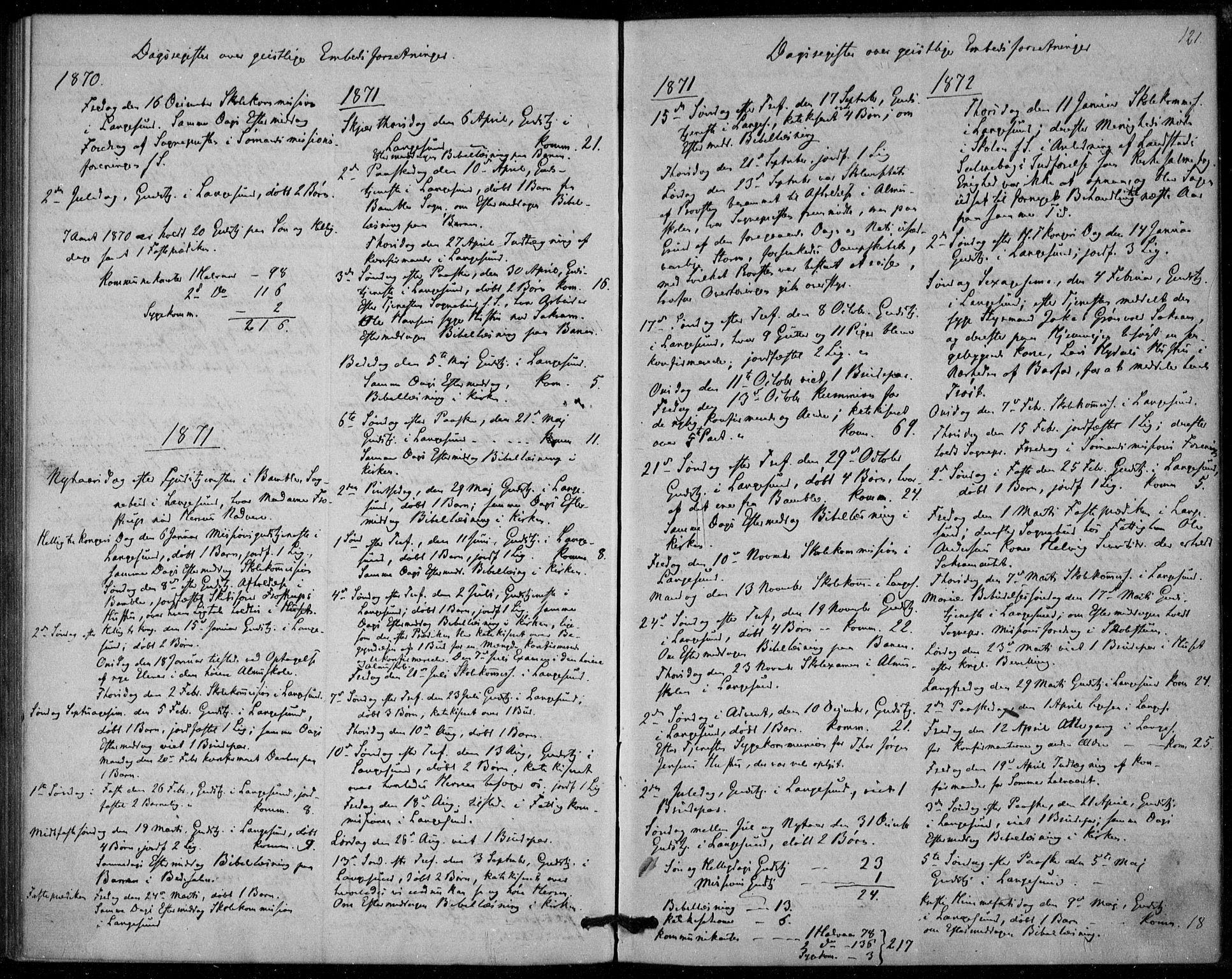 SAKO, Langesund kirkebøker, F/Fa/L0001: Ministerialbok nr. 1, 1870-1877, s. 121