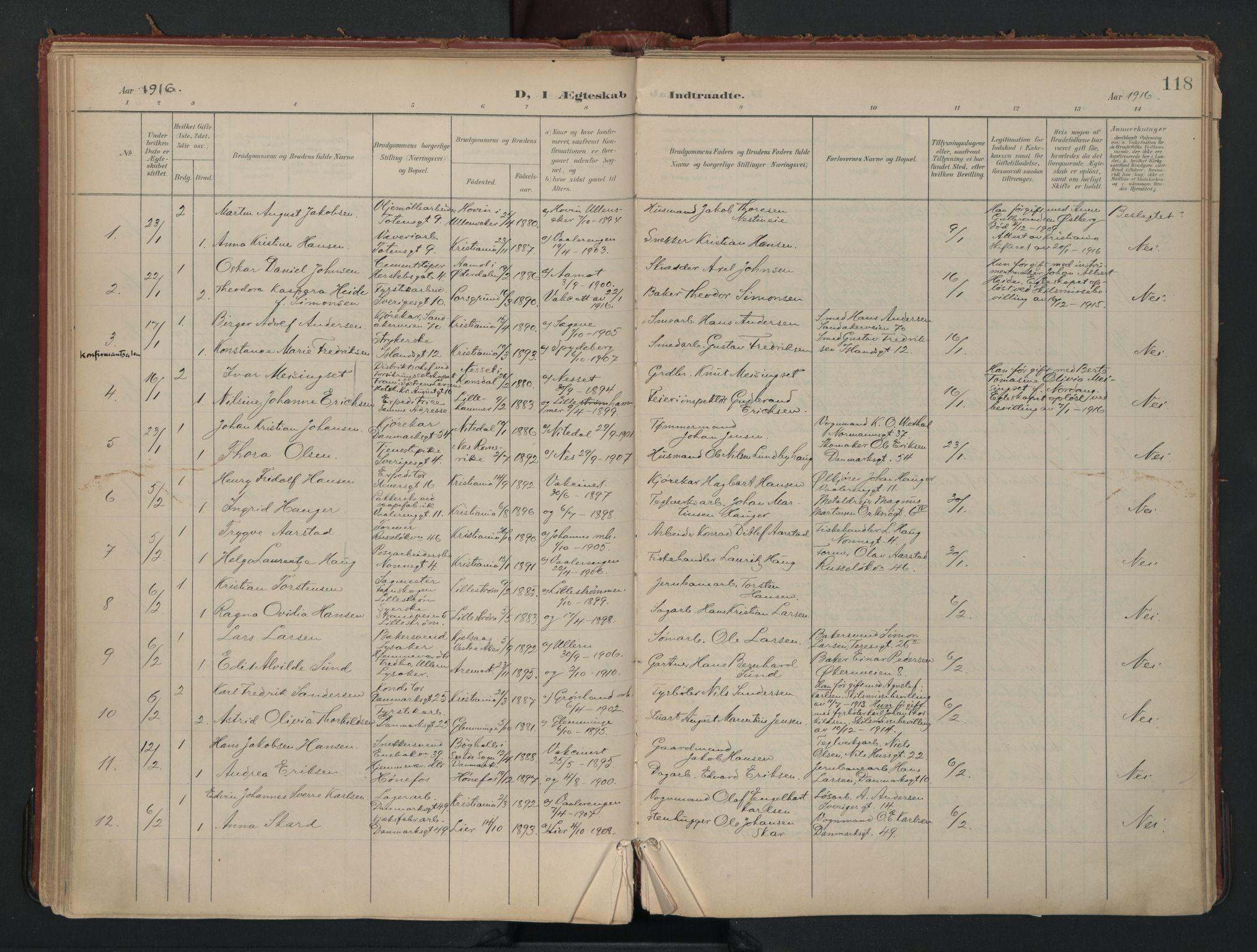 SAO, Vålerengen prestekontor Kirkebøker, F/Fa/L0002: Ministerialbok nr. 2, 1899-1924, s. 118