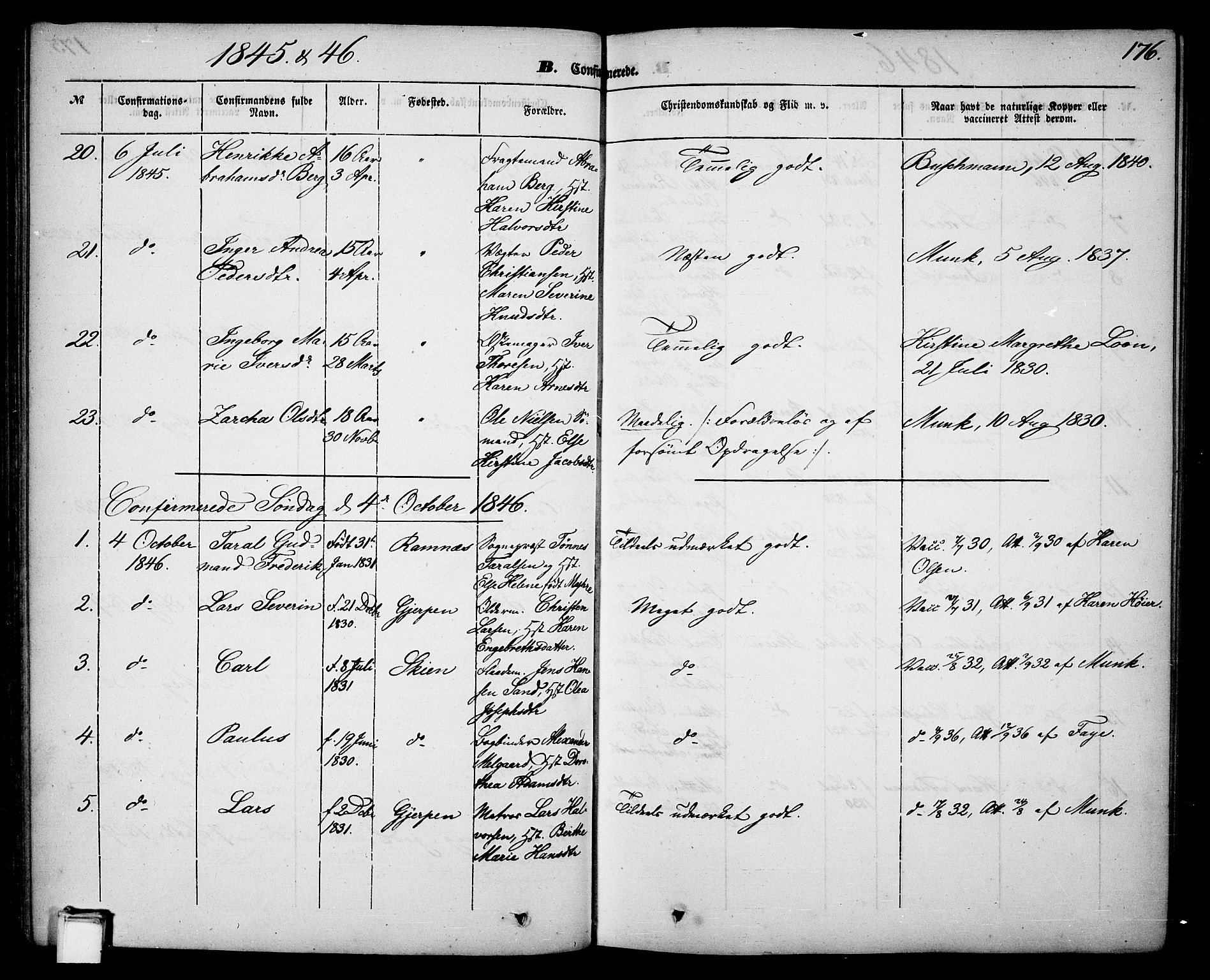 SAKO, Skien kirkebøker, G/Ga/L0004: Klokkerbok nr. 4, 1843-1867, s. 176