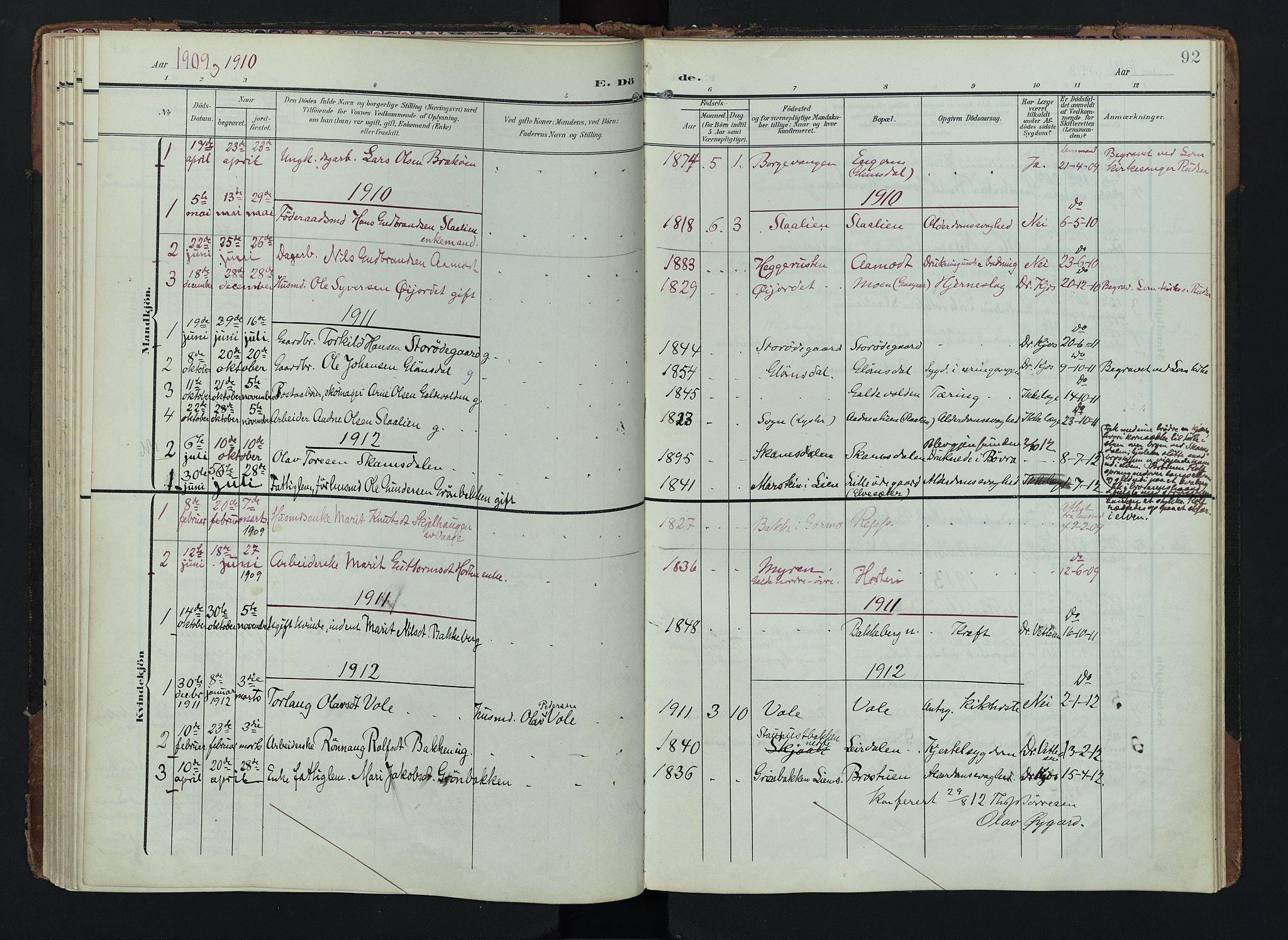 SAH, Lom prestekontor, K/L0012: Ministerialbok nr. 12, 1904-1928, s. 92