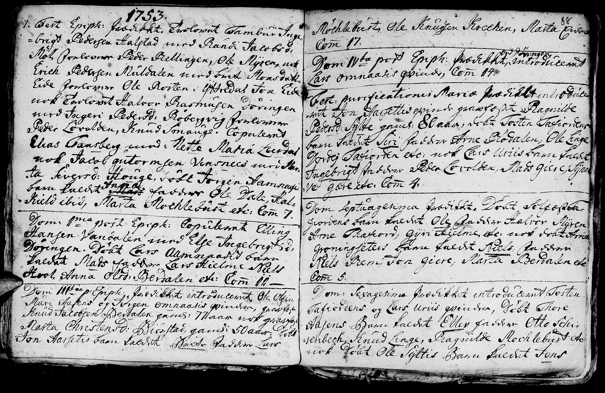 SAT, Ministerialprotokoller, klokkerbøker og fødselsregistre - Møre og Romsdal, 519/L0240: Ministerialbok nr. 519A01 /1, 1736-1760, s. 88