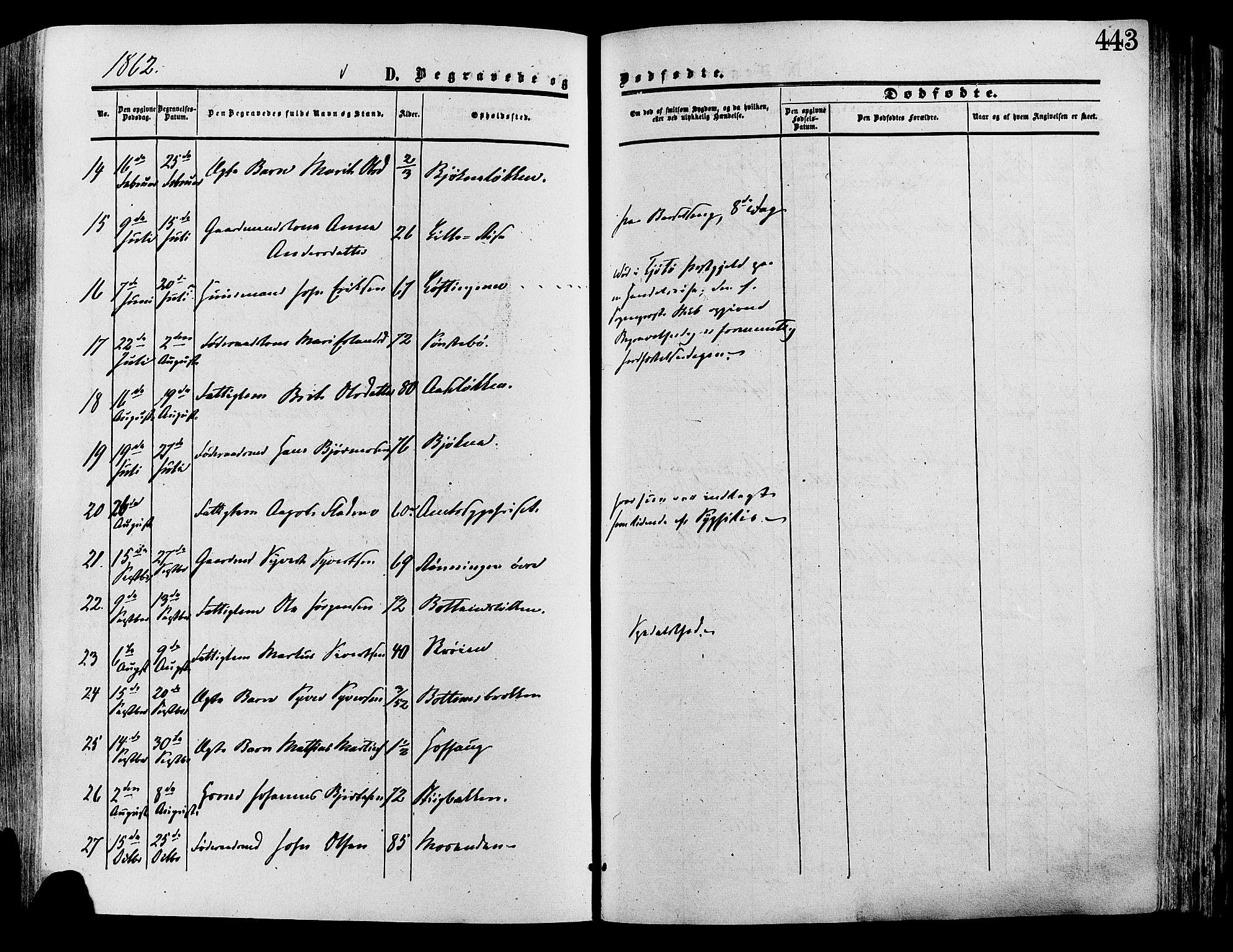 SAH, Lesja prestekontor, Ministerialbok nr. 8, 1854-1880, s. 443