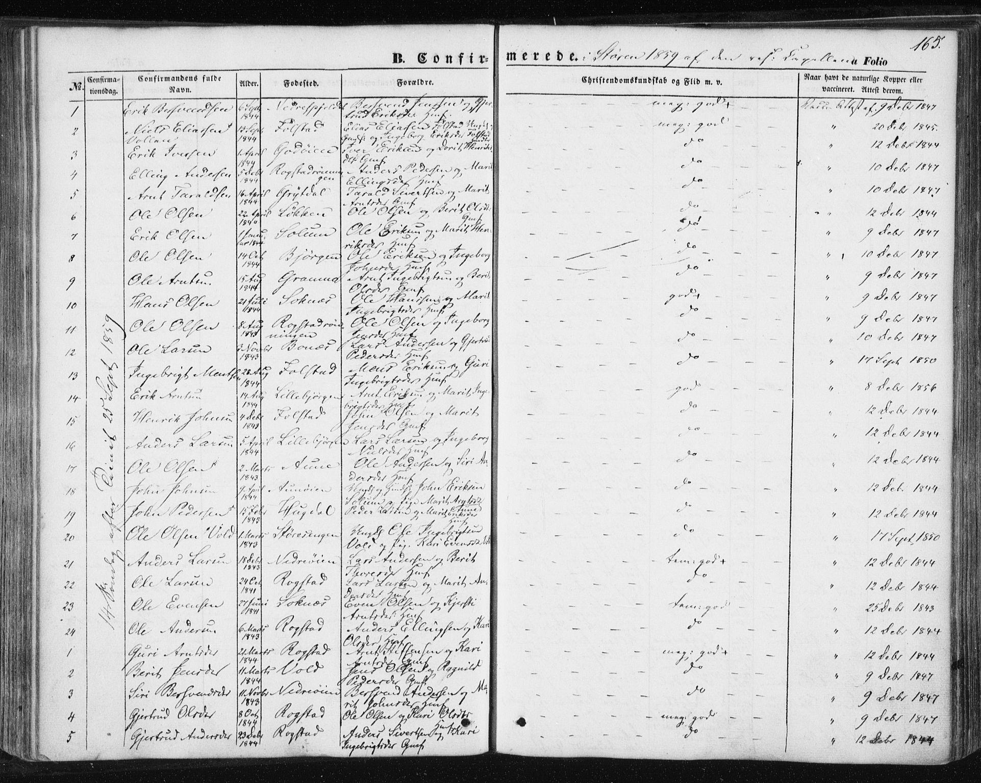 SAT, Ministerialprotokoller, klokkerbøker og fødselsregistre - Sør-Trøndelag, 687/L1000: Ministerialbok nr. 687A06, 1848-1869, s. 165