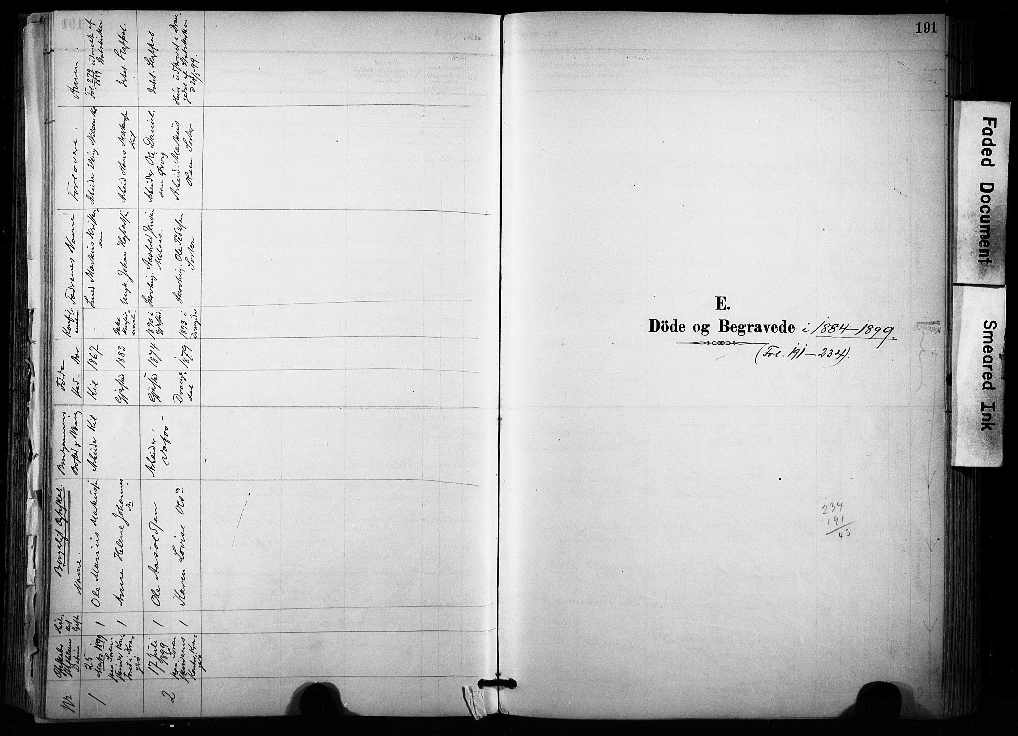 SAKO, Sannidal kirkebøker, F/Fa/L0015: Ministerialbok nr. 15, 1884-1899, s. 191