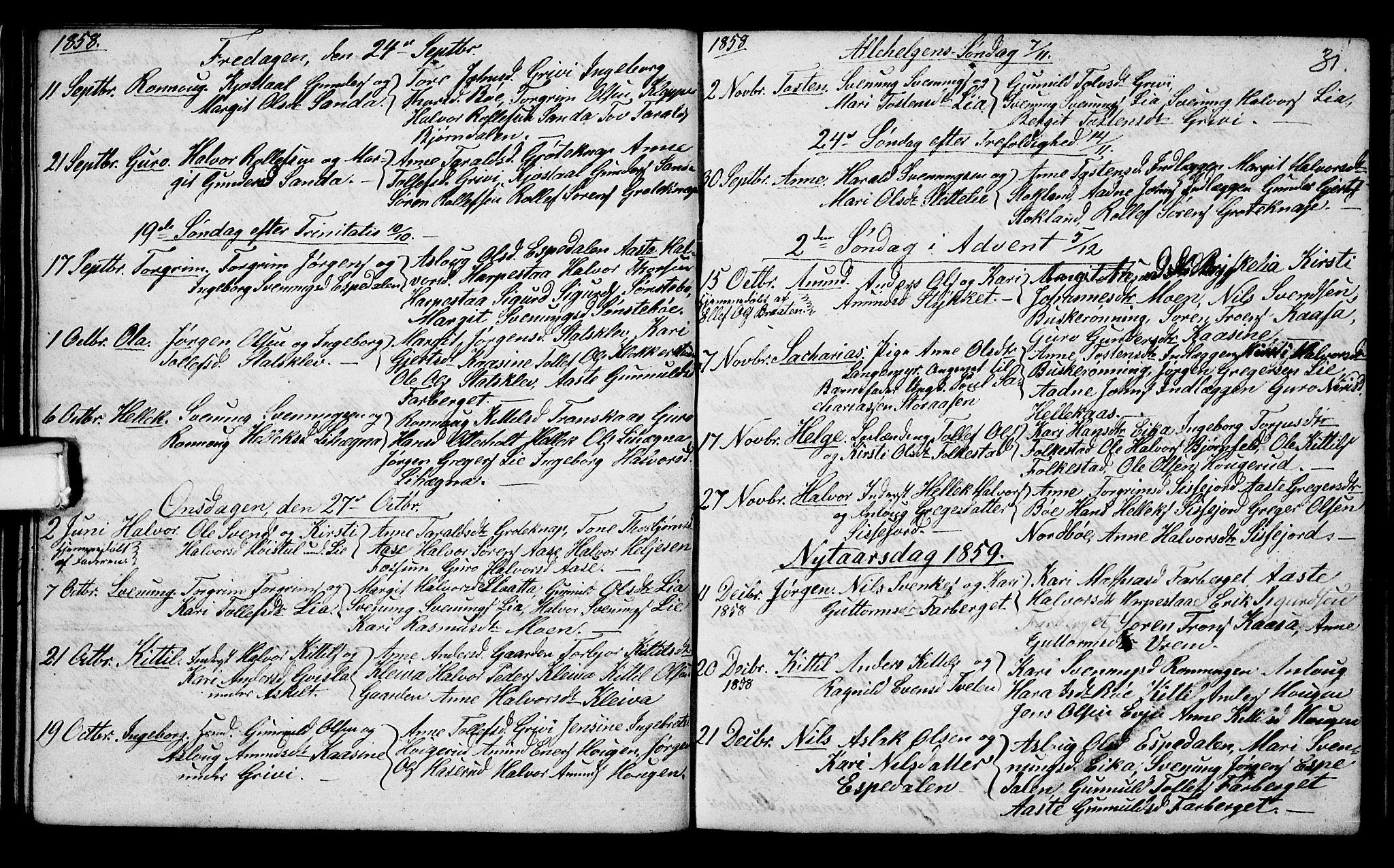 SAKO, Bø kirkebøker, G/Ga/L0002: Klokkerbok nr. 2, 1853-1866, s. 31